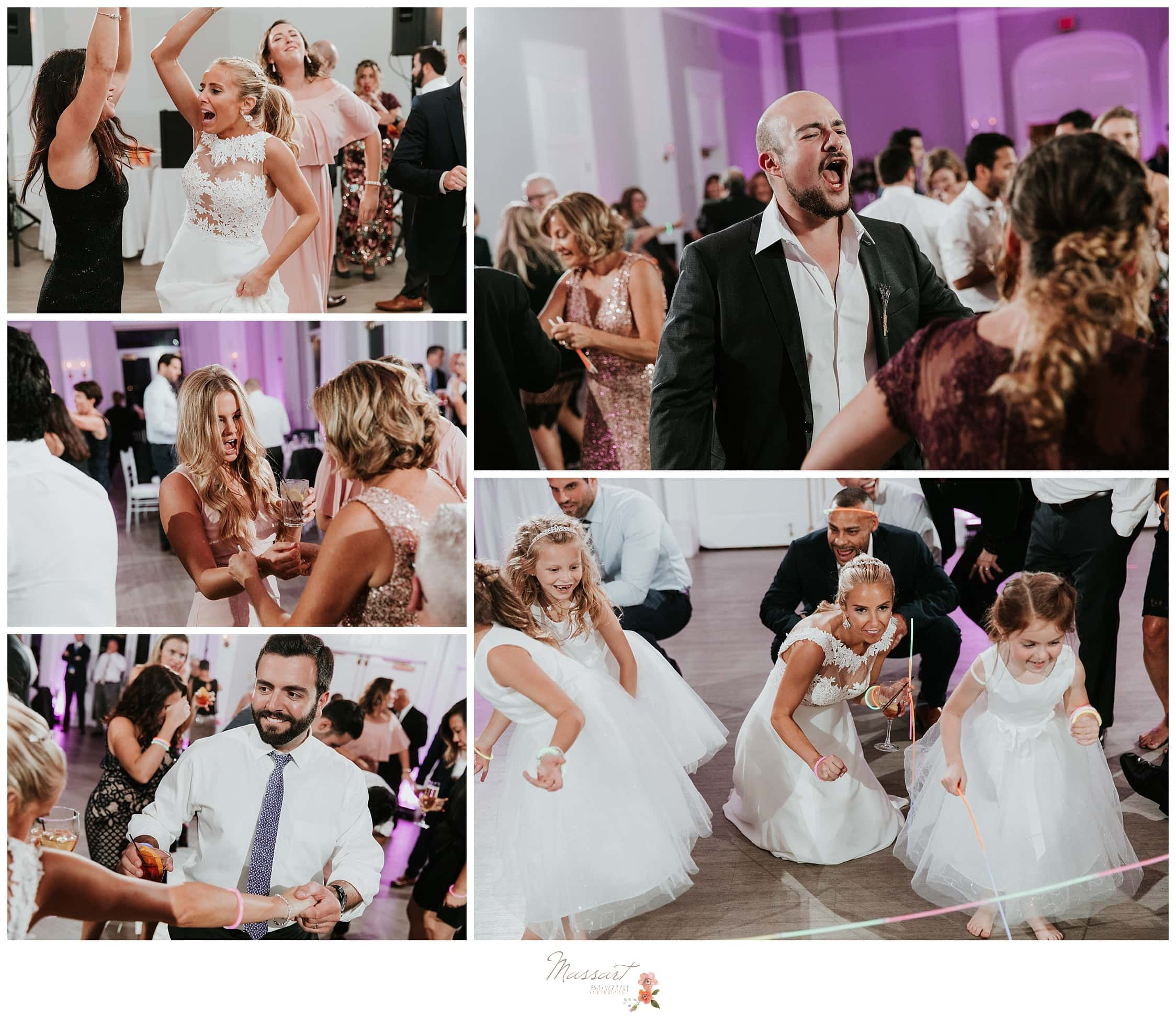 Bride and groom dancing with family and friends photographed by Massart Photography Rhode Island