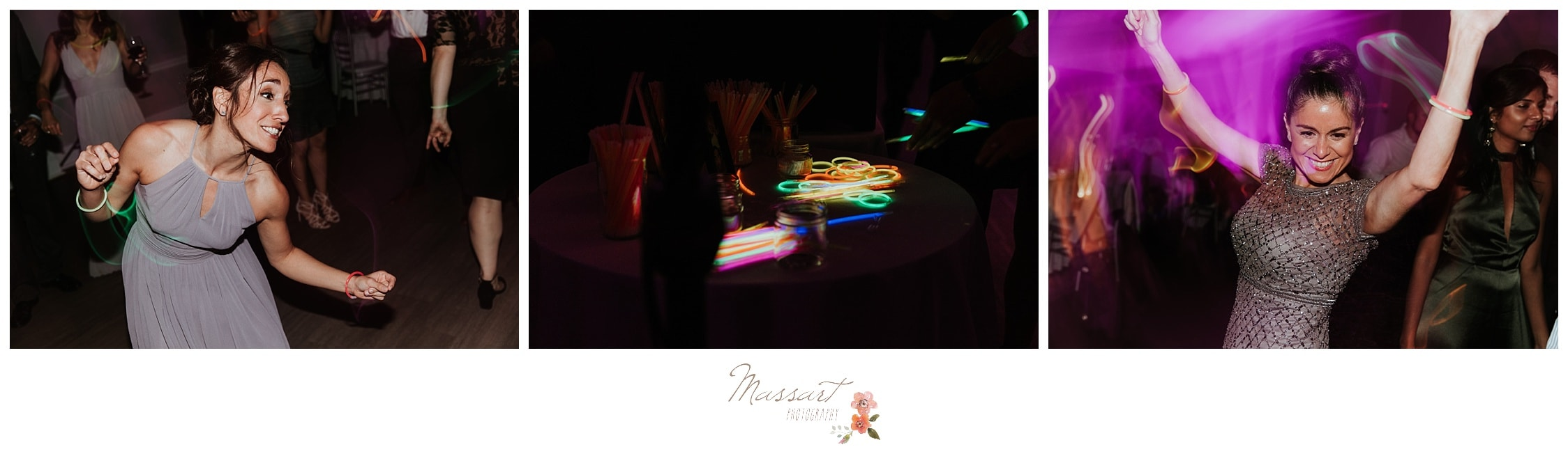 Portraits of glow sticks being used around the wedding reception photographed by Massart Photography Rhode Island
