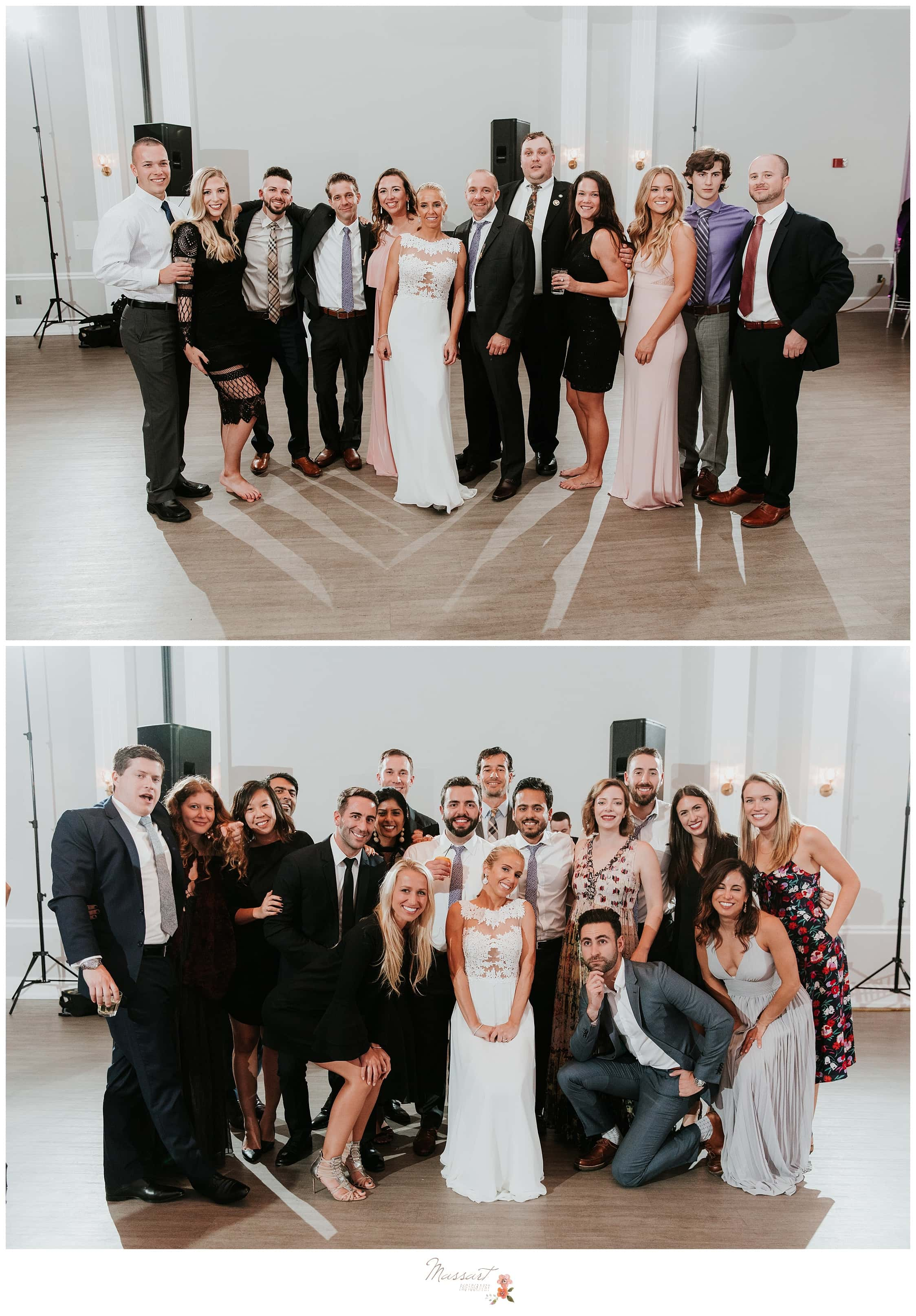Bride and groom with their friends at the wedding reception photographed by Massart Photography Rhode Island