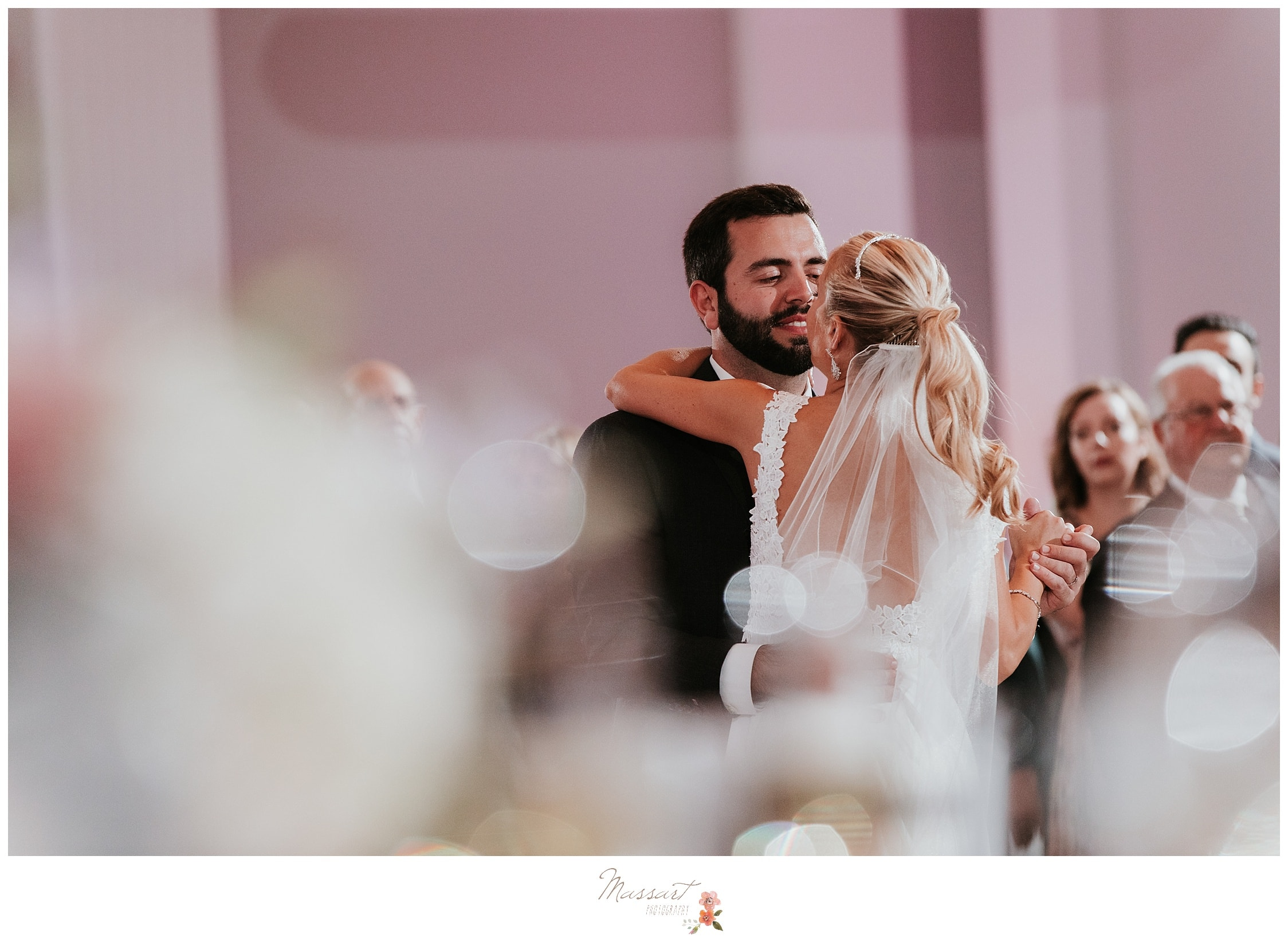 Bride and groom share their first dance photographed by Massart Photography Rhode Island