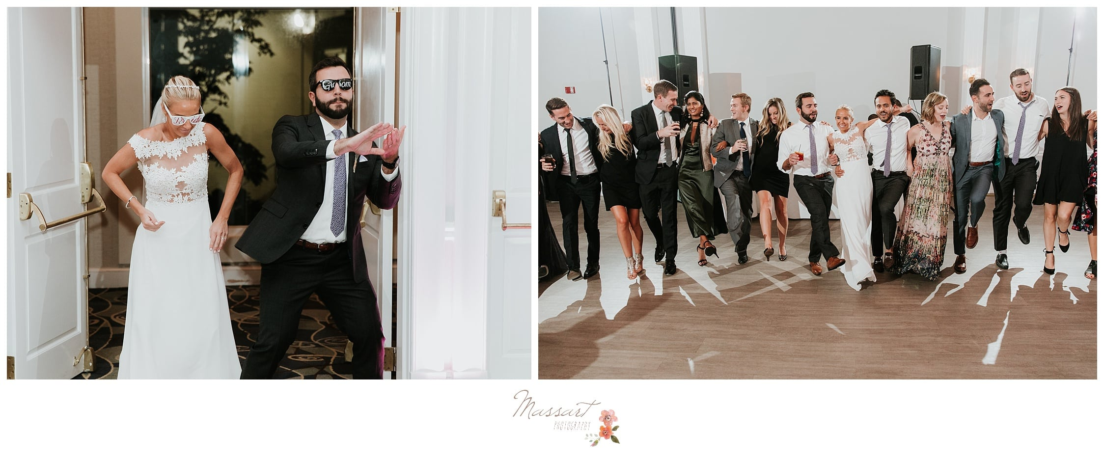 Husband and wife having fun while dancing into their wedding reception photographed by Massart Photography RI