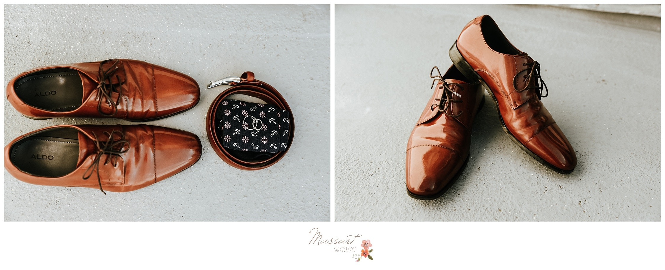 Detail portraits of the groom's shoes and handkerchief photographed by Massart Photography RI