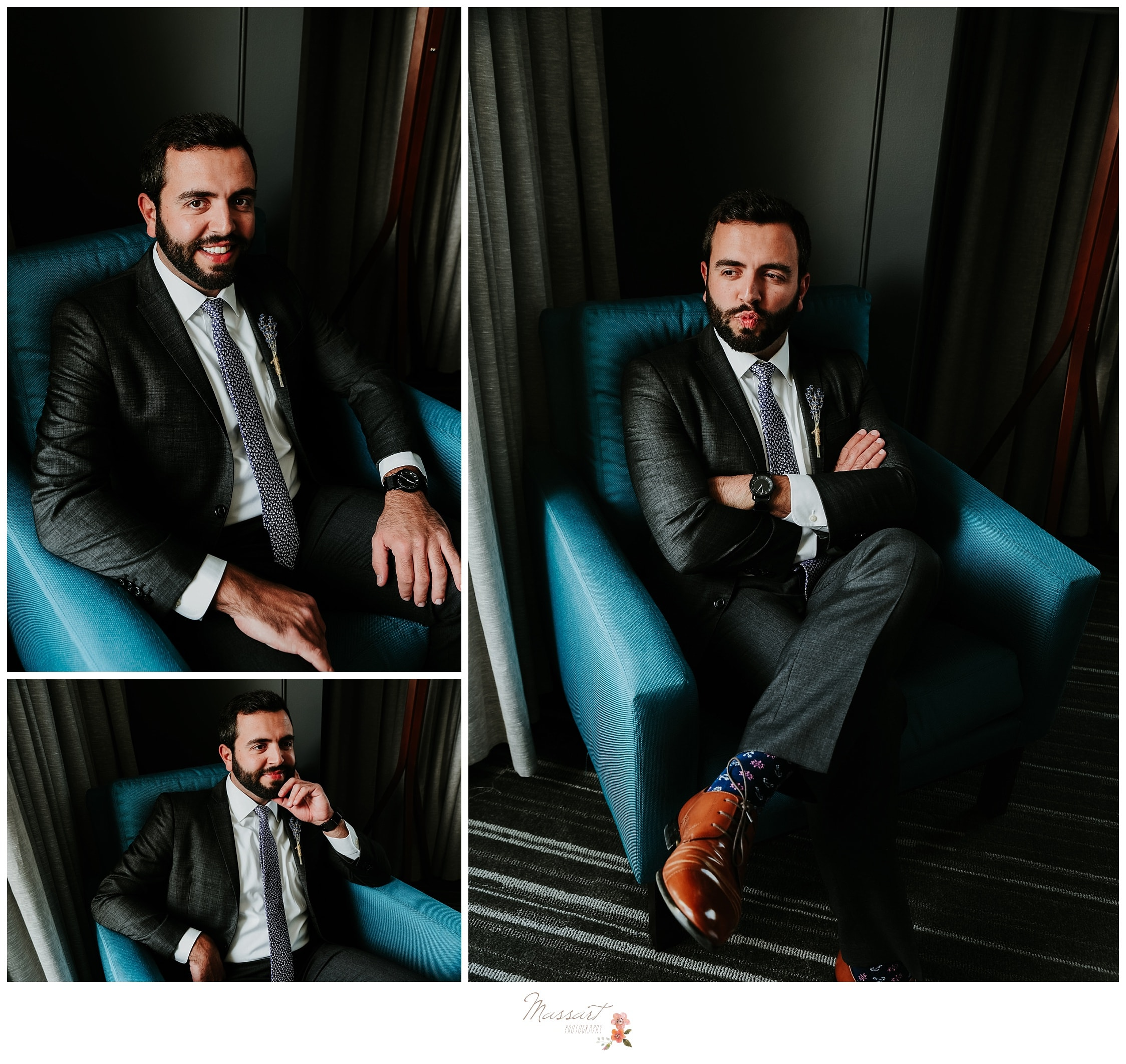 Formal portraits of the groom dressed in his tux photographed by Massart Photography Rhode Island