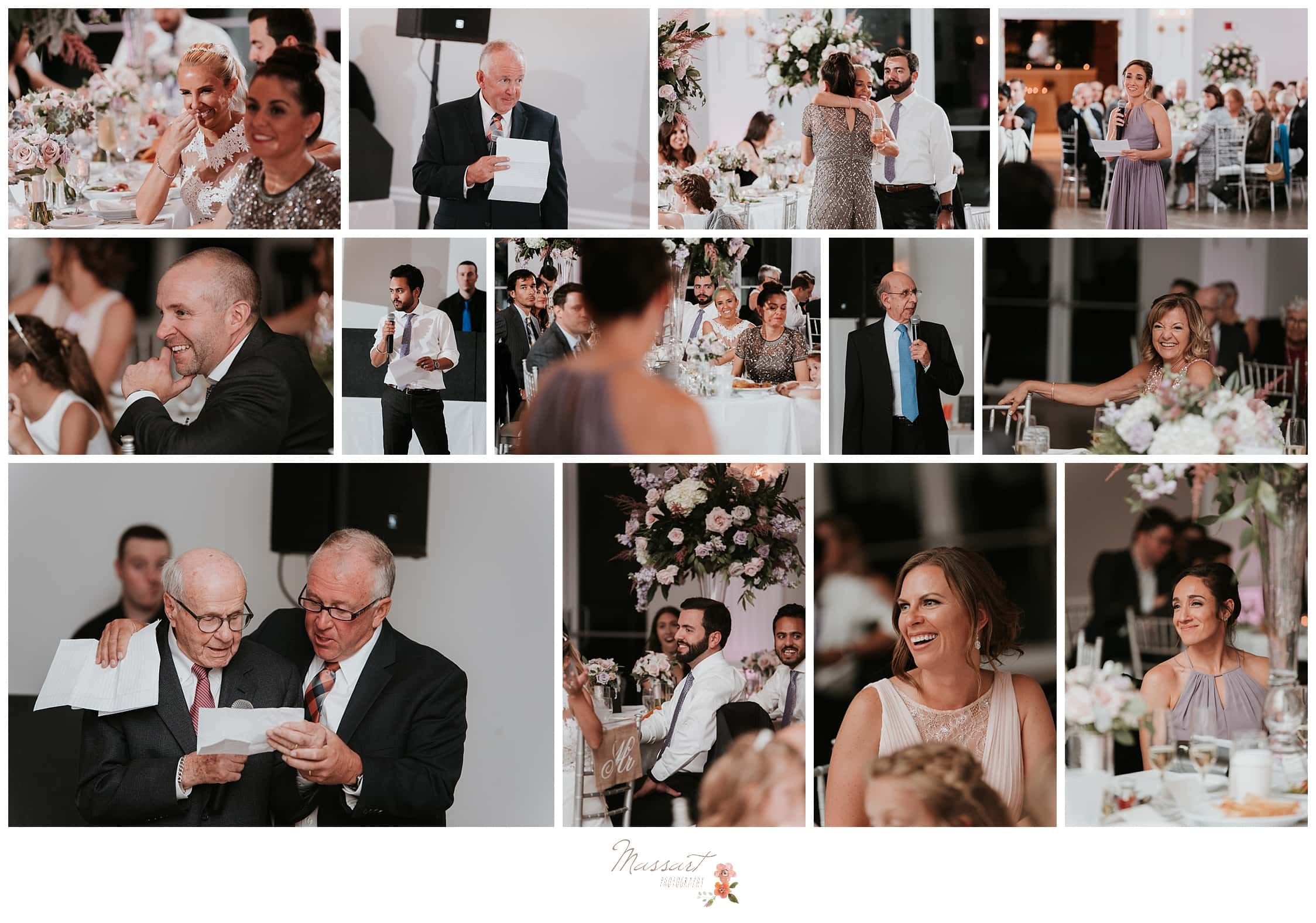 Portraits of family members, the best man and the maid of honor giving speeches at the wedding reception photographed by Massart Photography Rhode Island