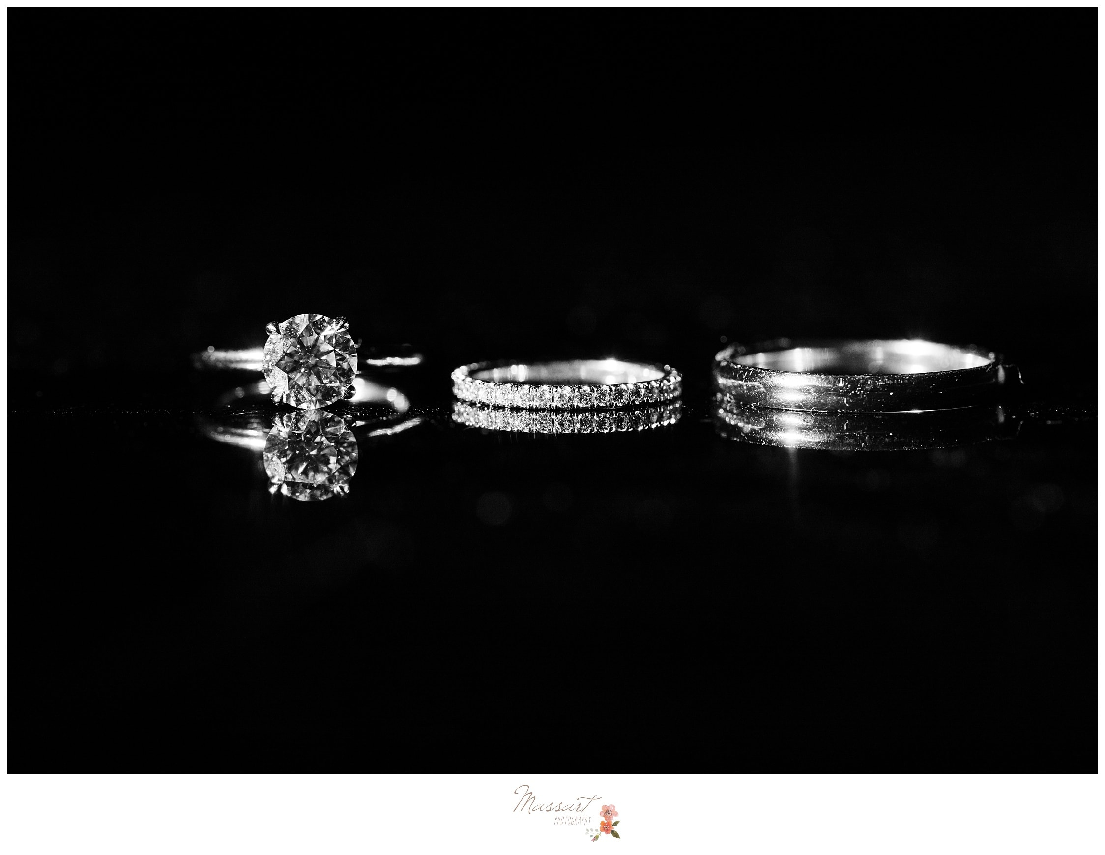 Portraits of the bride and groom's wedding bands photographed by Massart Photography RI