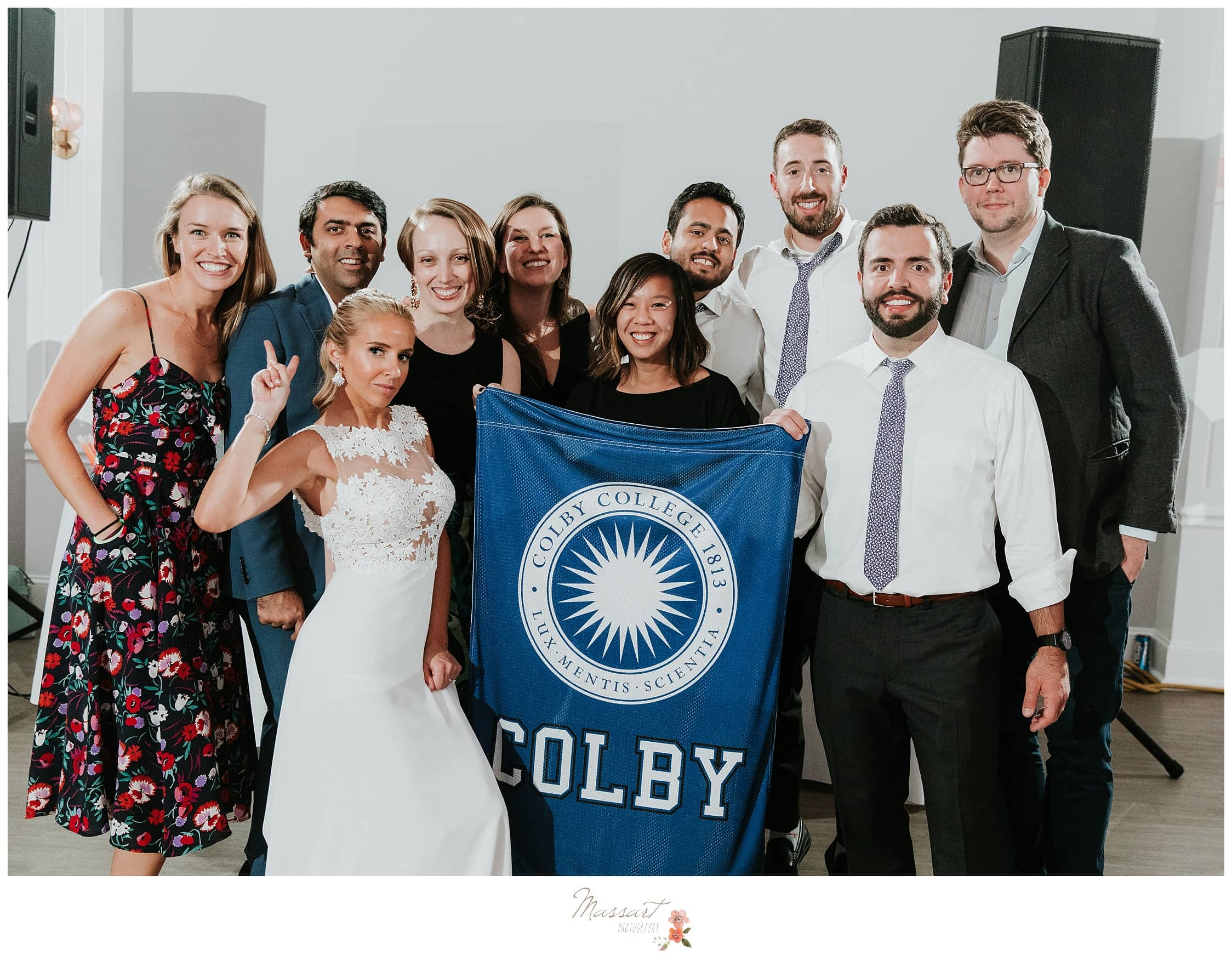 Portrait of the bride and groom with their Colby College friends photographed by Massart Photography RI