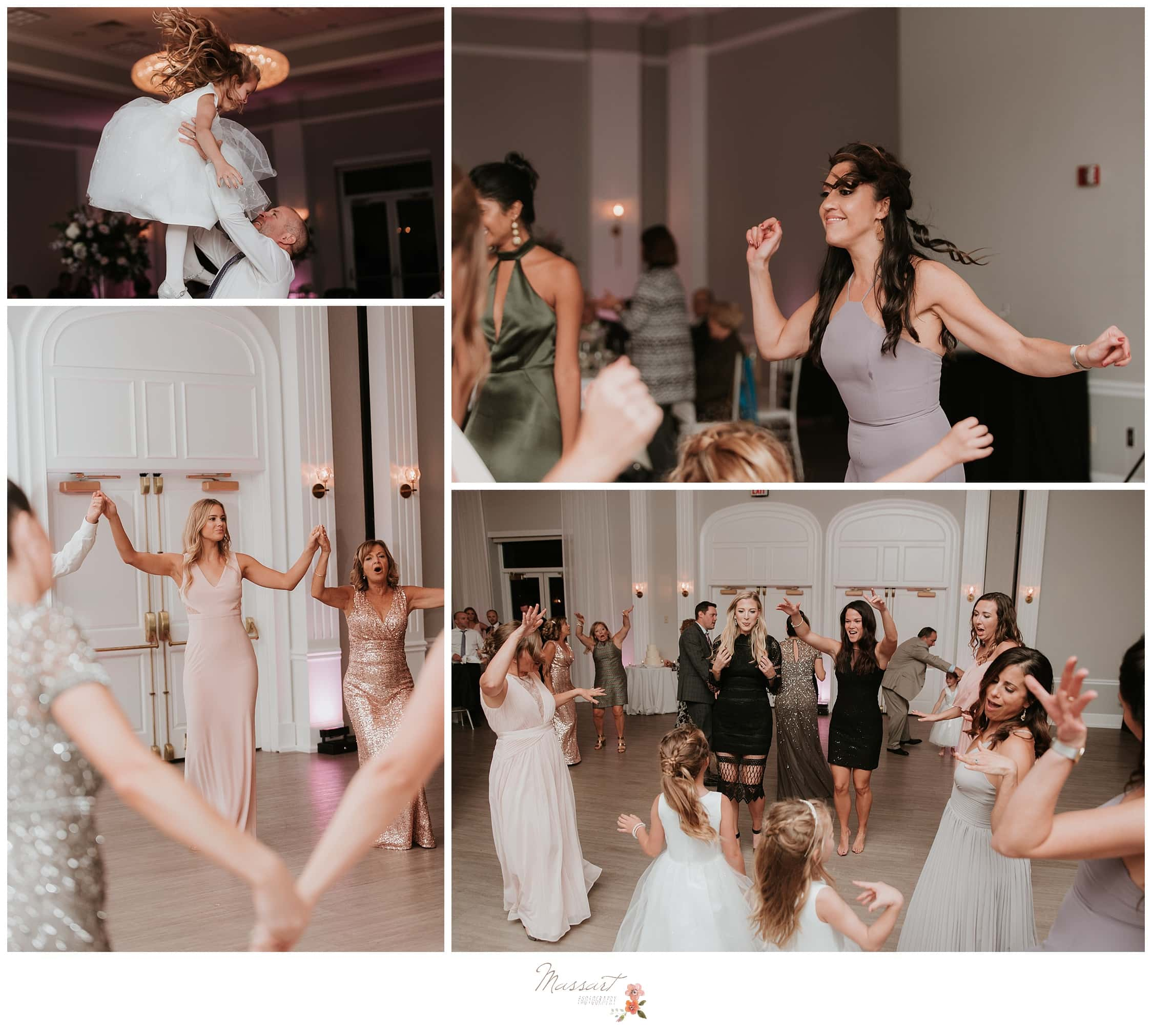 Wedding guests dancing at the Gurney's Hotel wedding reception photographed by Massart Photography Rhode Island