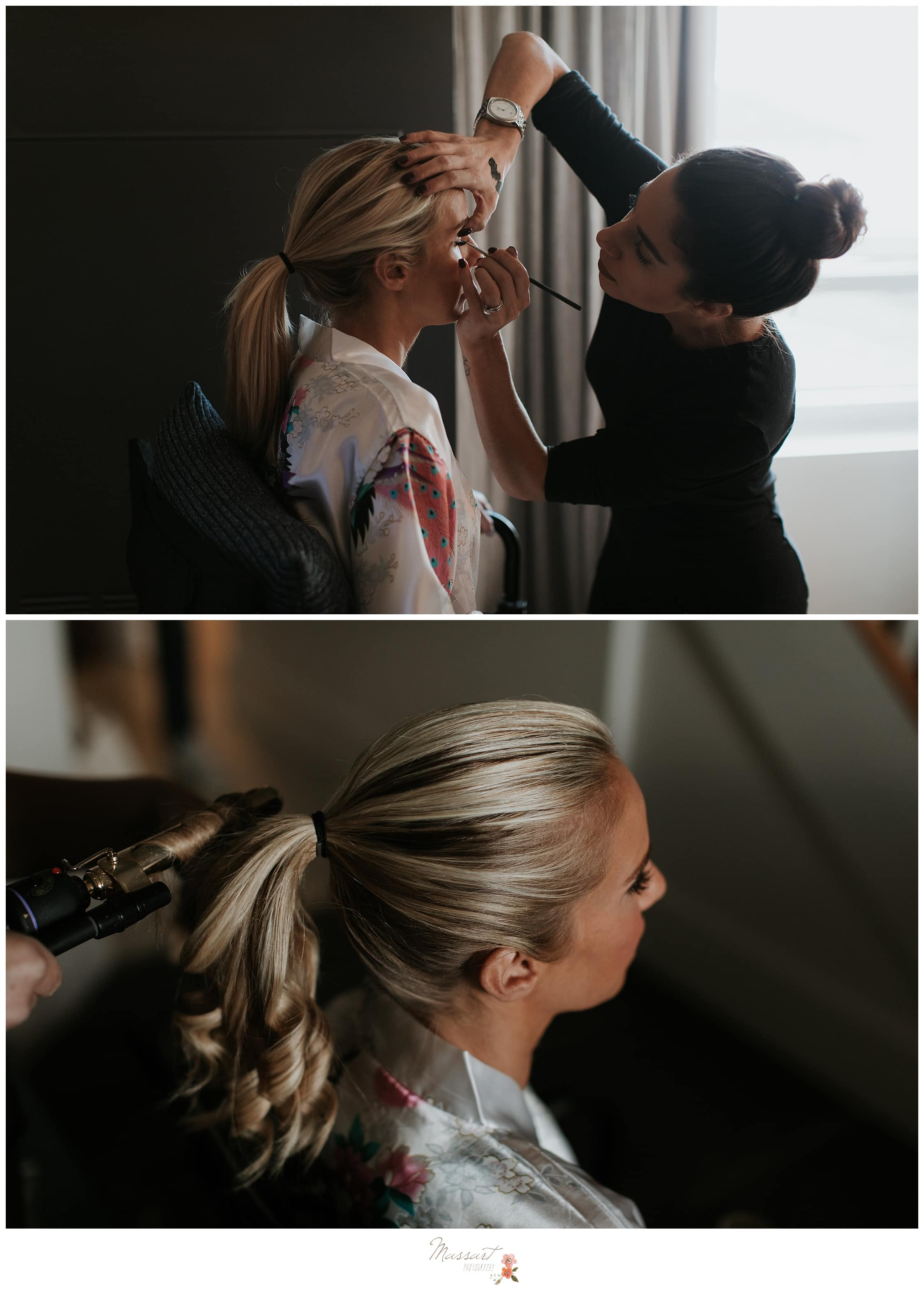 Bride gets her hair done for the Newport, Rhode Island wedding ceremony photographed by Massart Photography RI