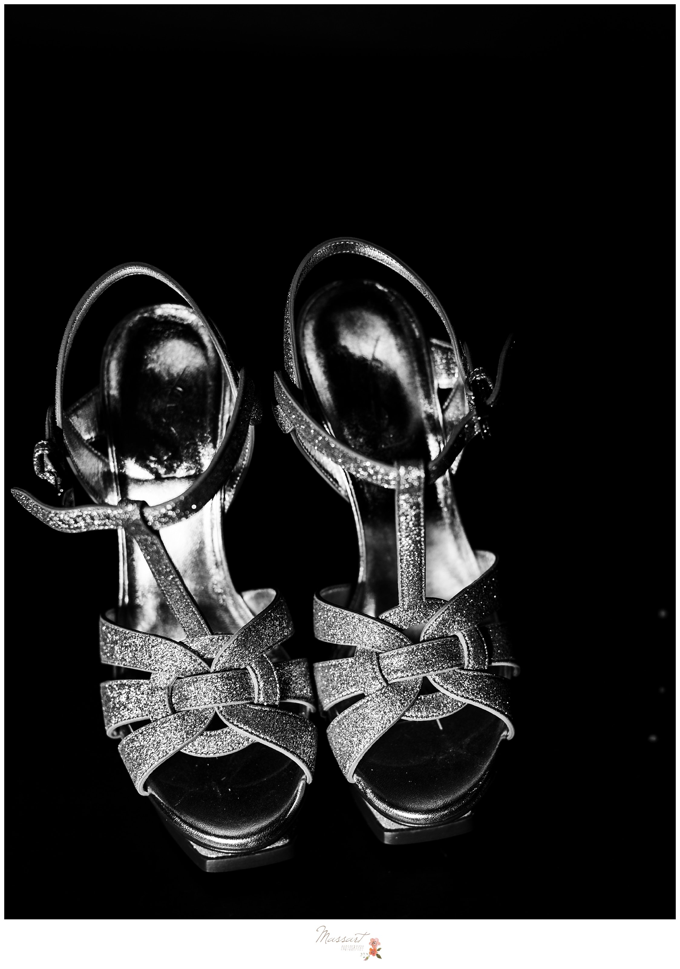 Black and white portrait of the bride's wedding heels photographed by Massart Photography RI
