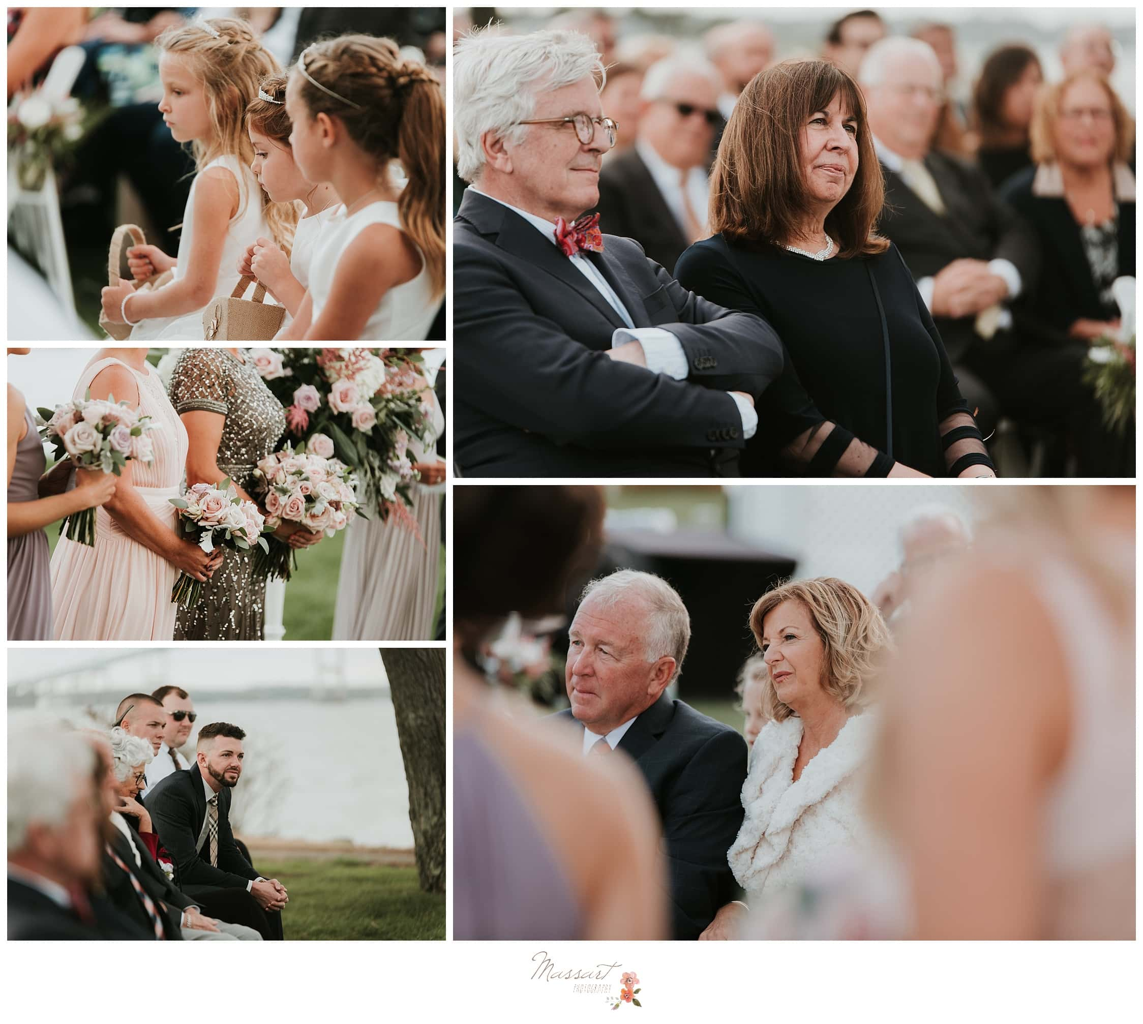 Portraits of the wedding guests during the ceremony photographed by Massart Photography RI