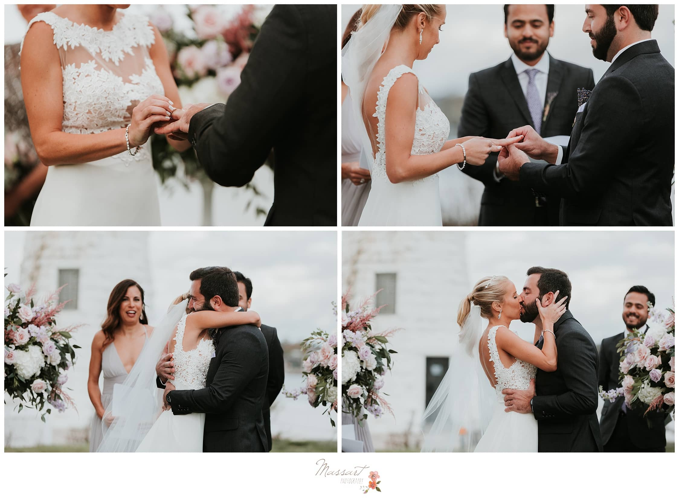 Bride and groom say their vows and share their first kiss photographed by Massart Photography Rhode Island