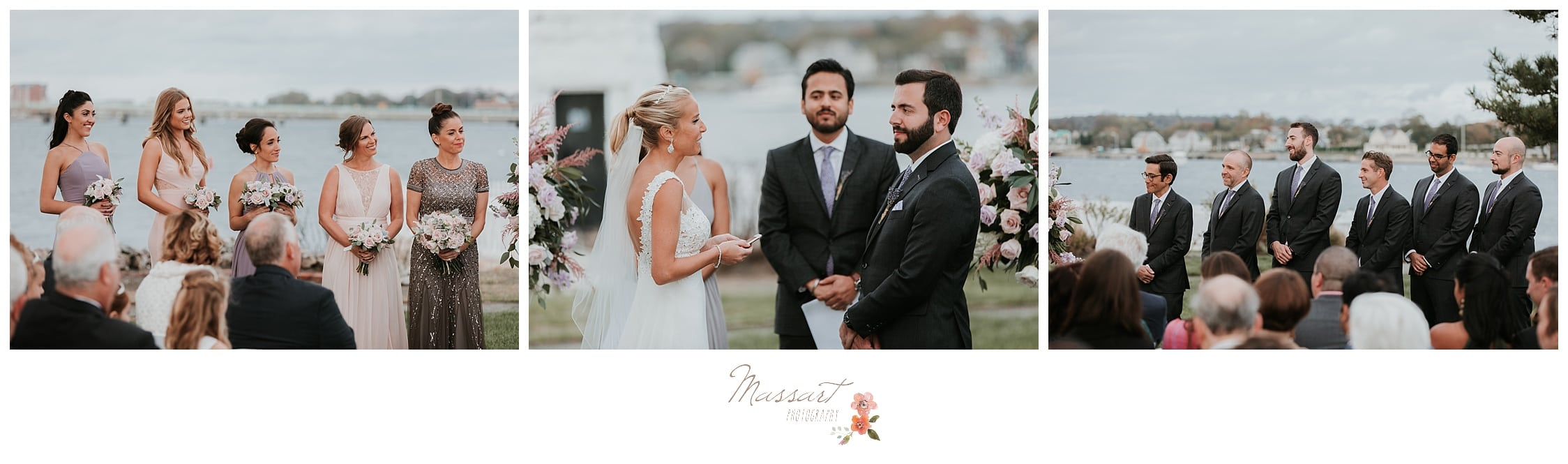 Bride and groom during their wedding ceremony photographed by Massart Photography Rhode Island