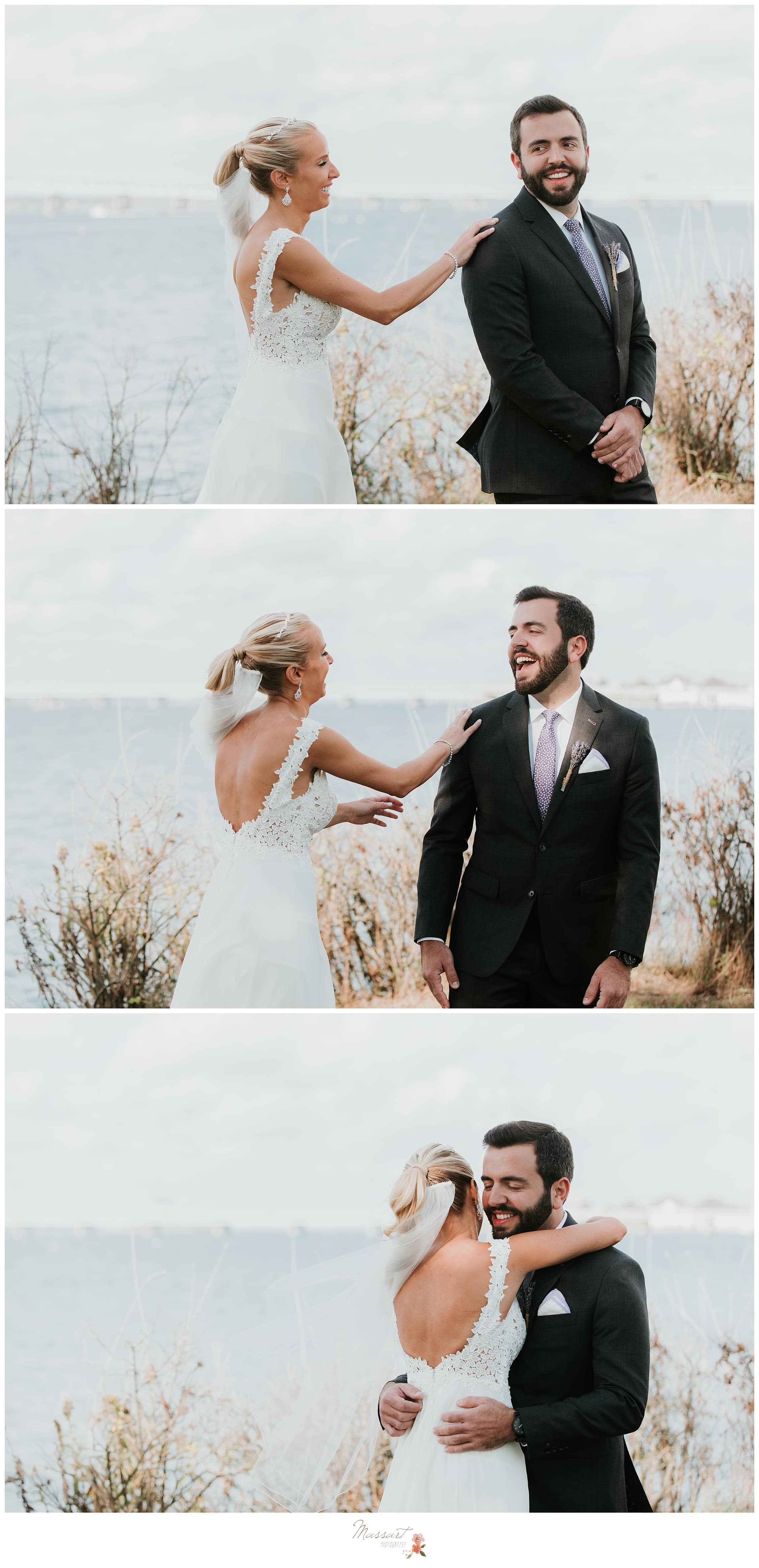 Bride surprises his groom during their first look photographed by Massart Photography Rhode Island