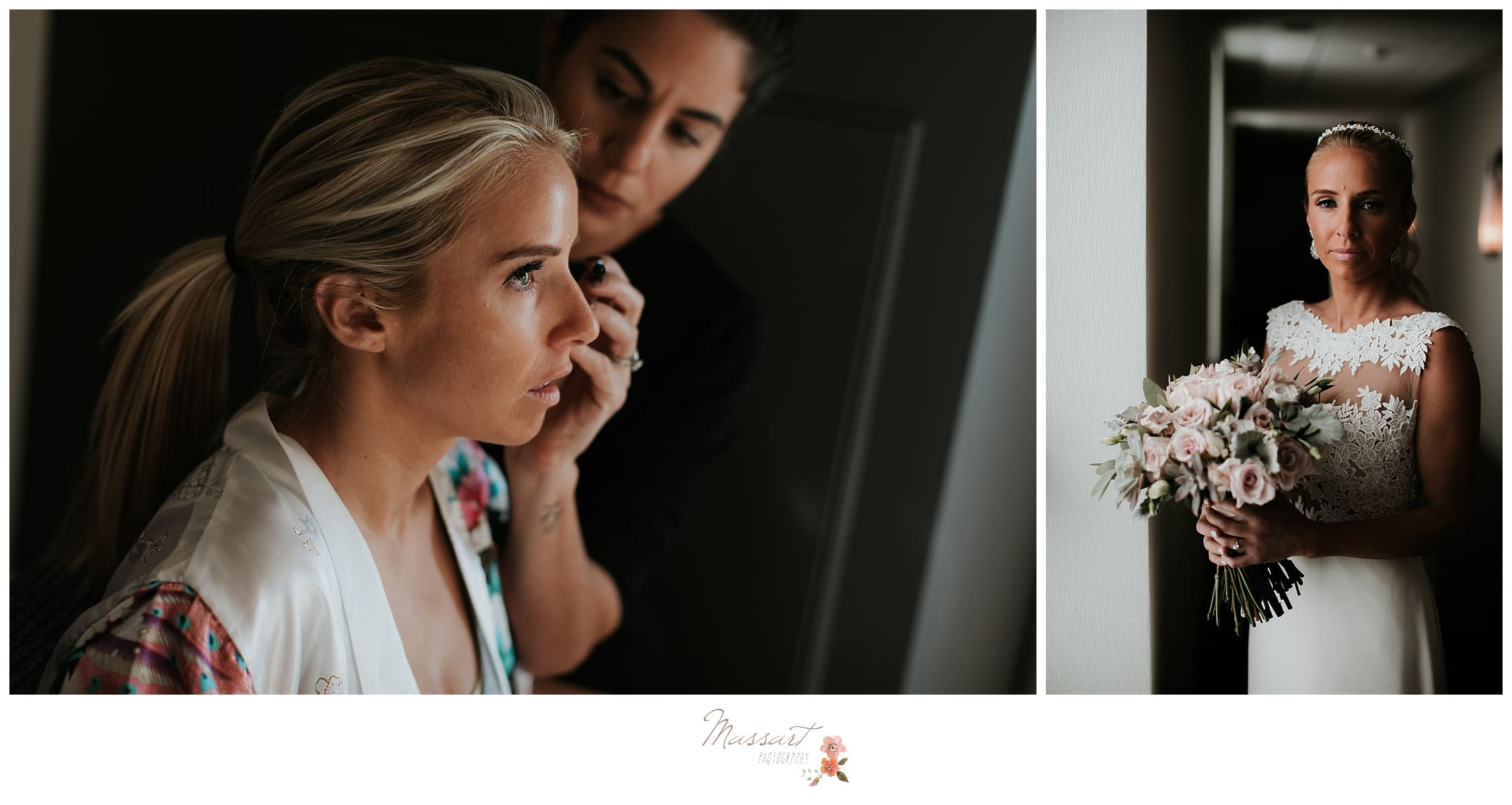 The bride gets ready before the wedding ceremony photographed by Massart Photography Rhode Island