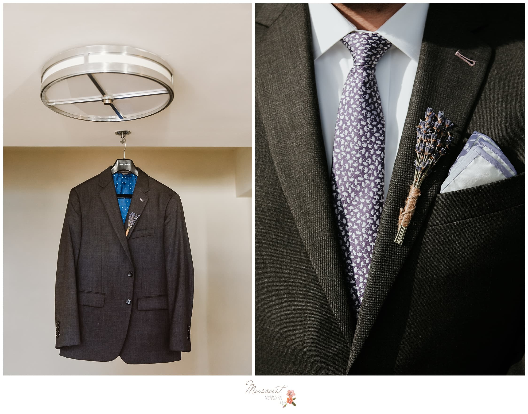 Details of the groom's tux hanging photographed by Massart Photography Rhode Island