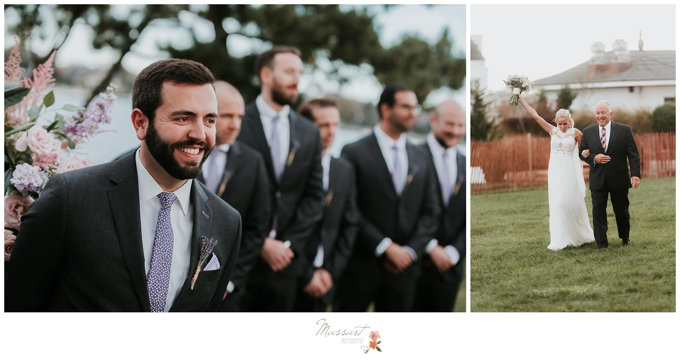 Groom watches his bride walk down the aisle photographed by Massart Photography Rhode Island