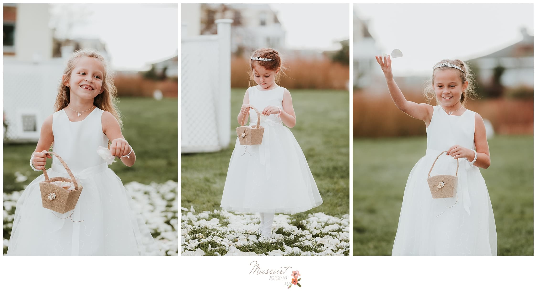 Flower girls walk down the aisle photographed by Massart Photography RI