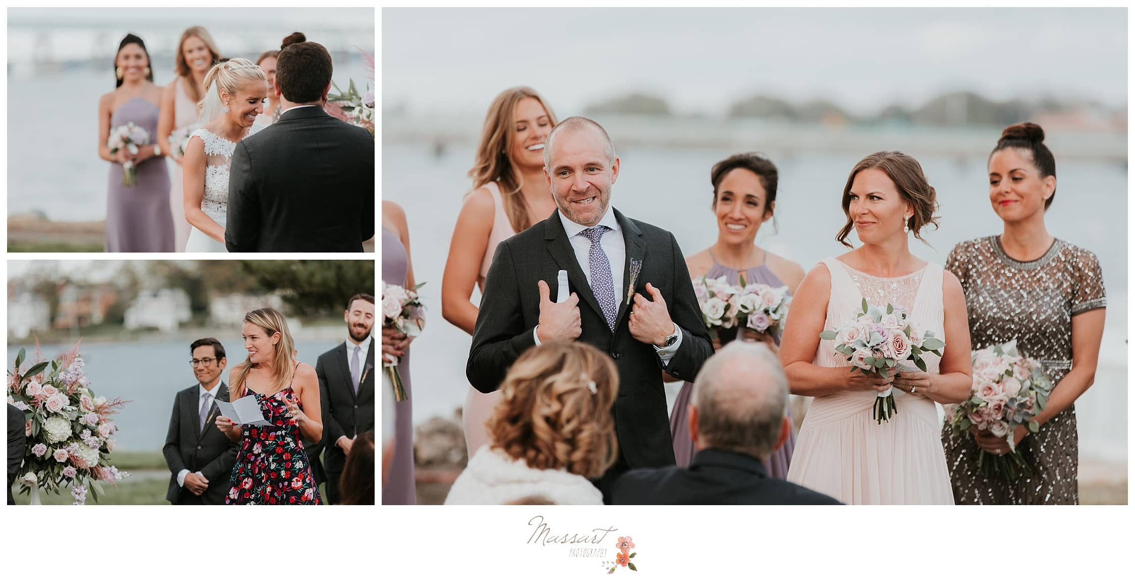 Family giving speeches at the wedding ceremony photographed by Massart Photography Rhode Island