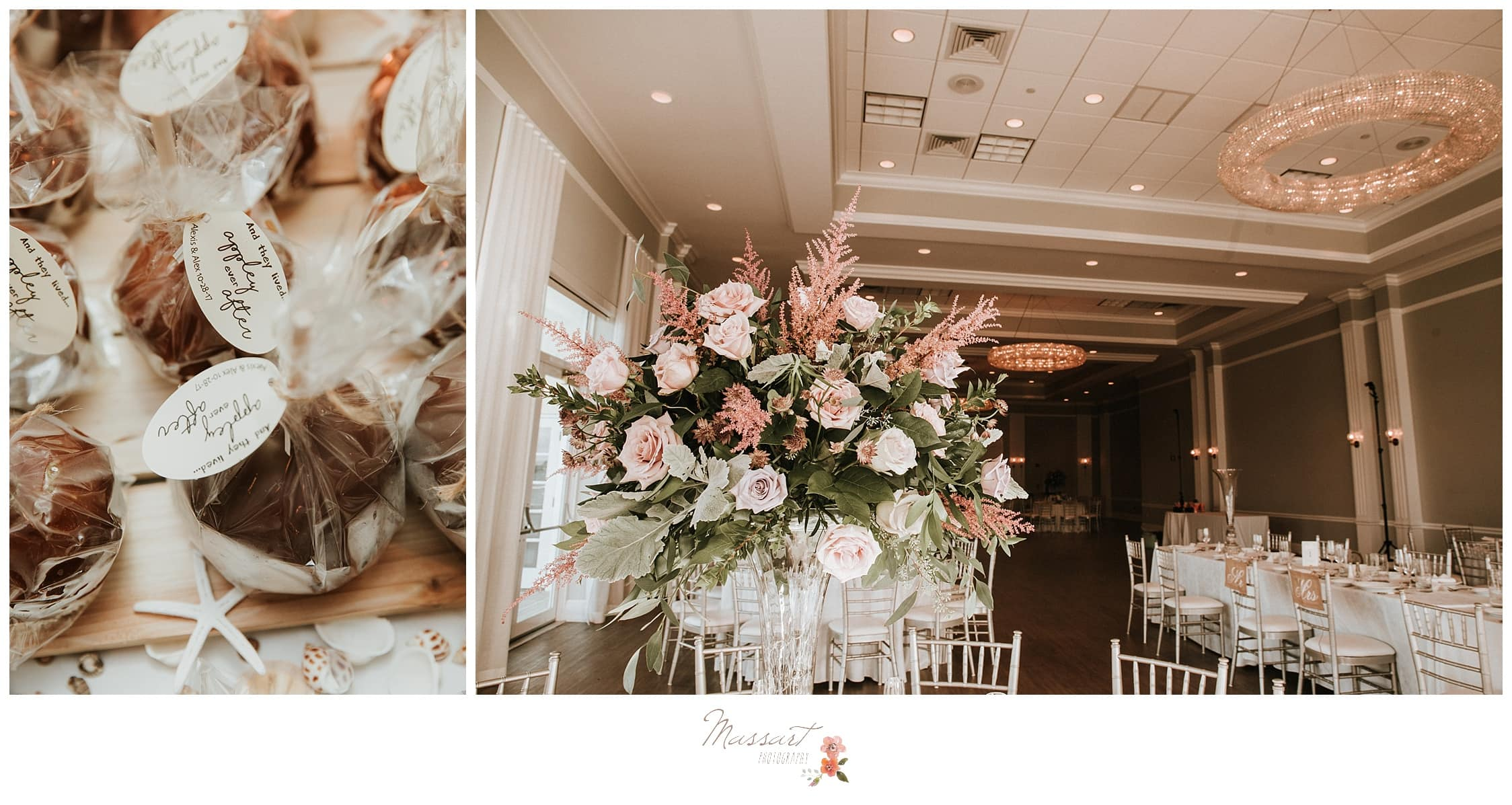Portraits of the floral centerpieces and the table settings photographed by Massart Photography Rhode Island