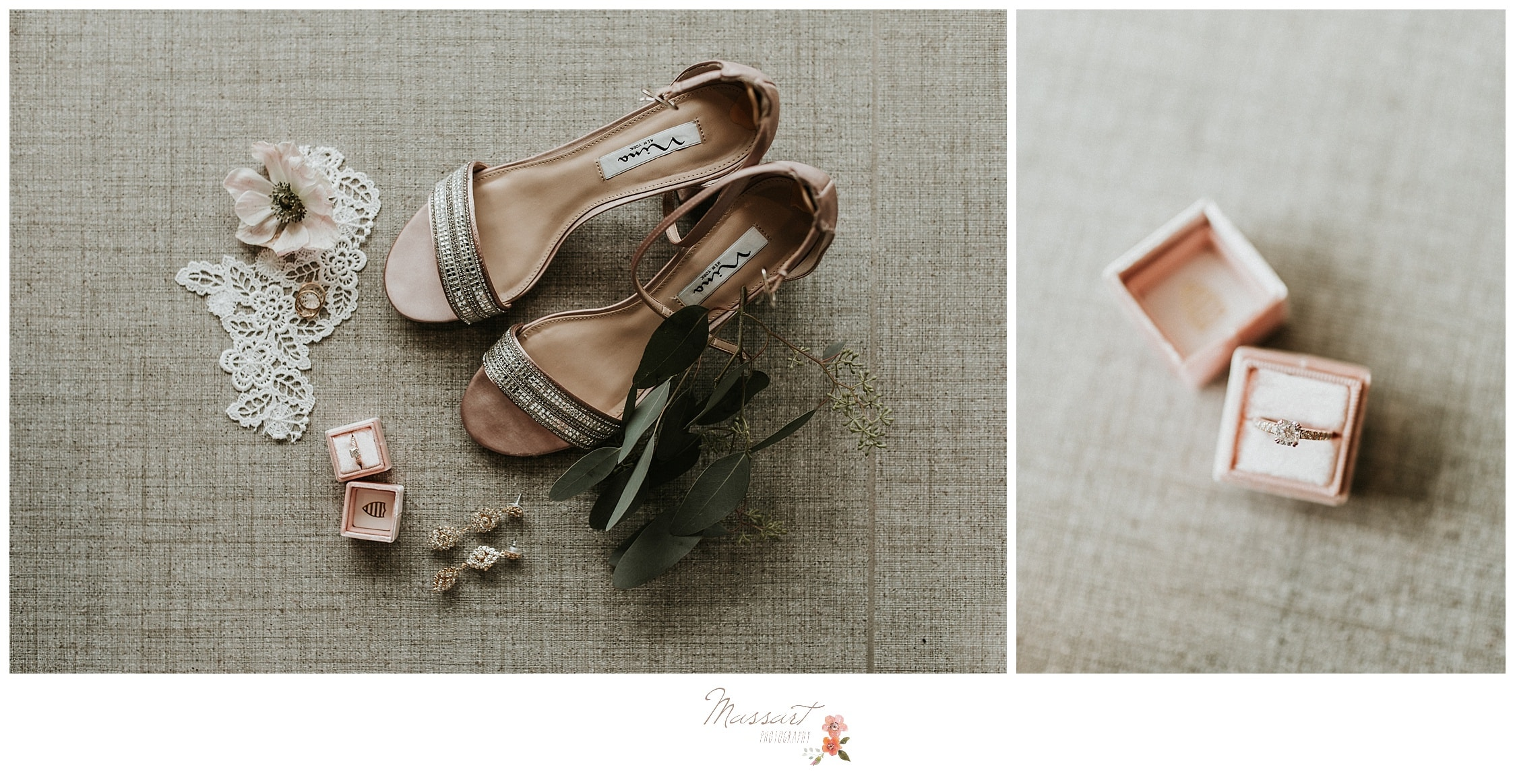 Wedding shoes and rings photographed by massart photography at the atlantic resort in RI