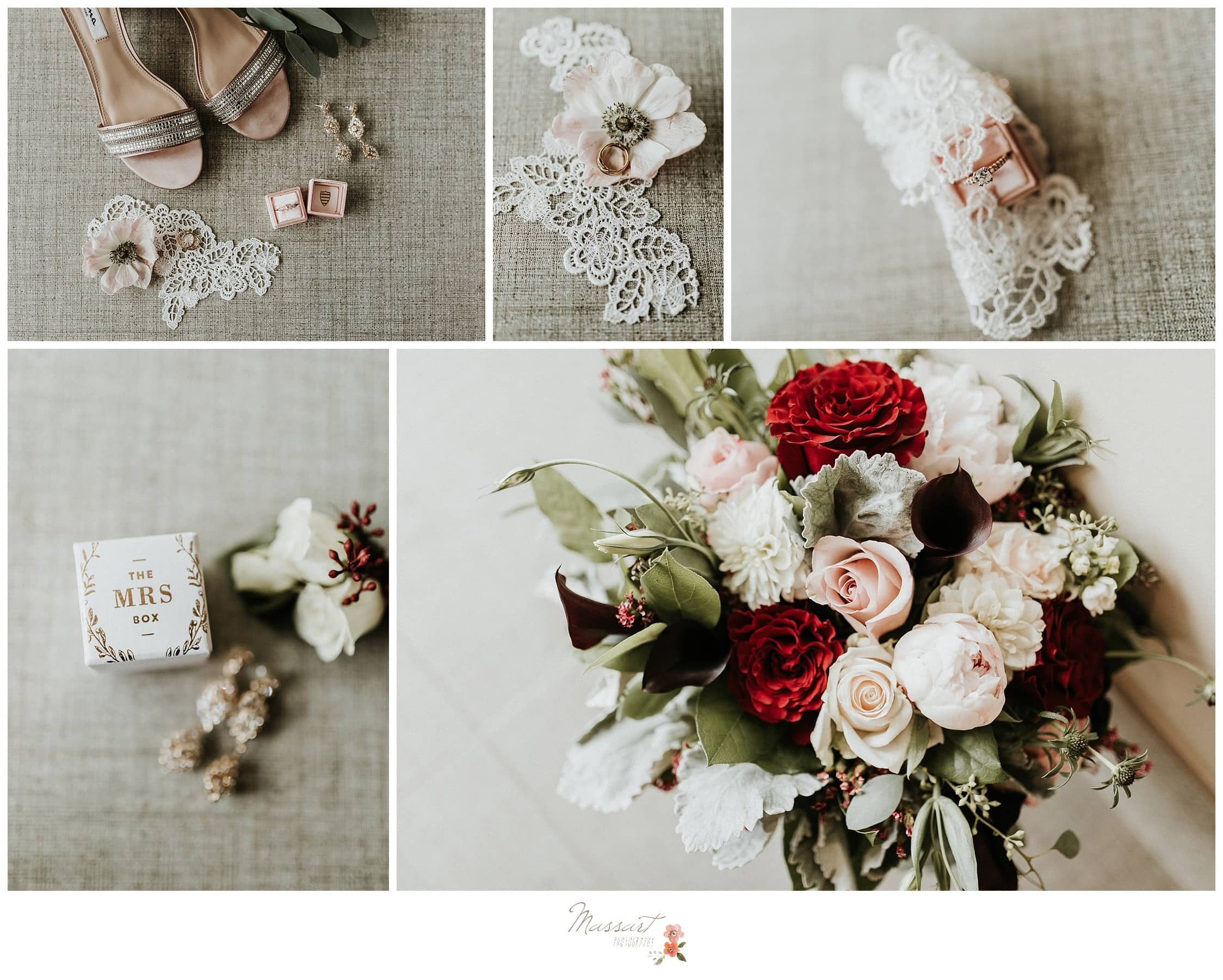 Wedding details, shoes and flowers captured by massart photographers of warwick rhode island