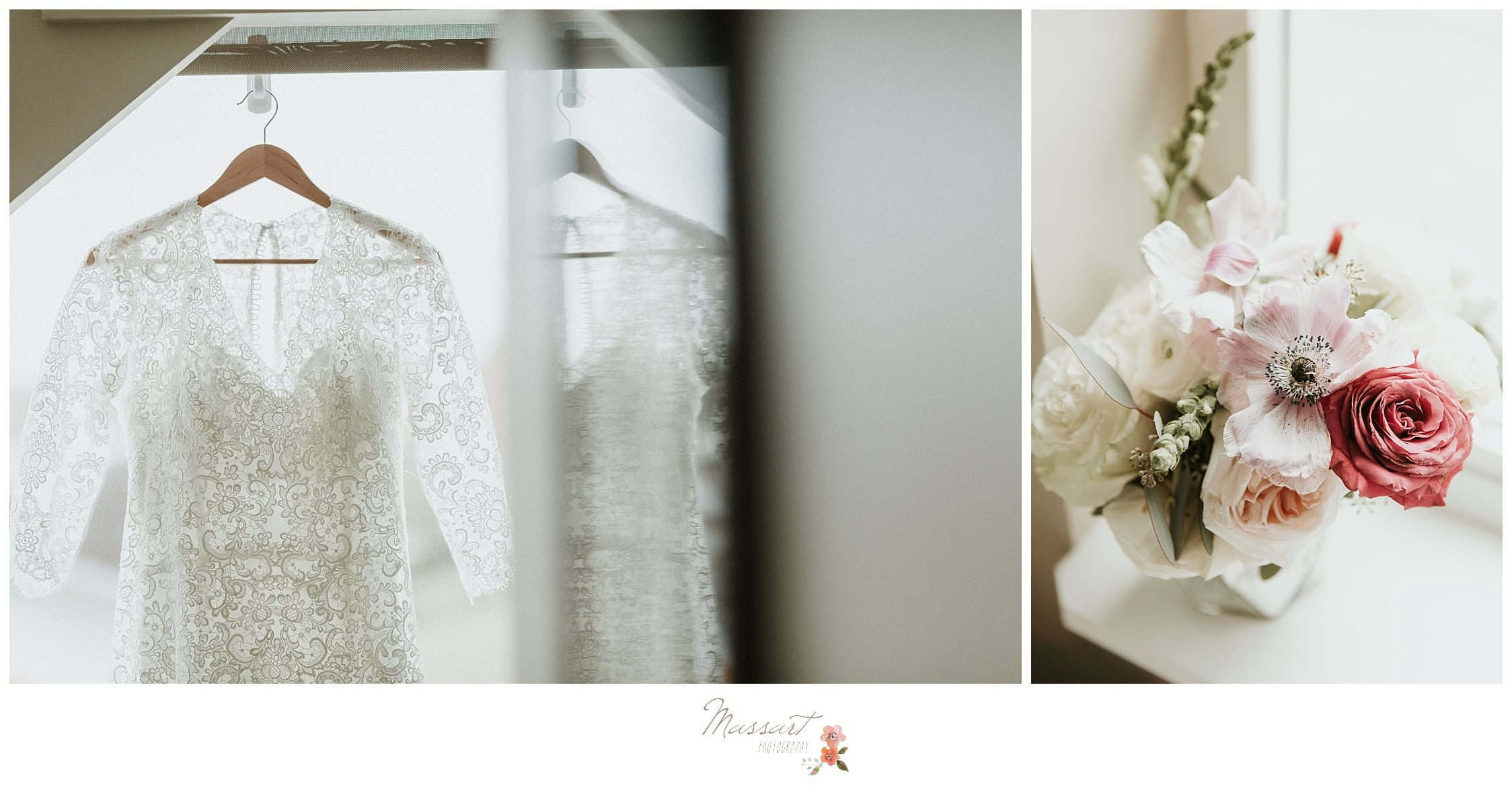 The wedding dress and bouquet at the atlantic resort in newport, RI captured by massart photographers of rhode island