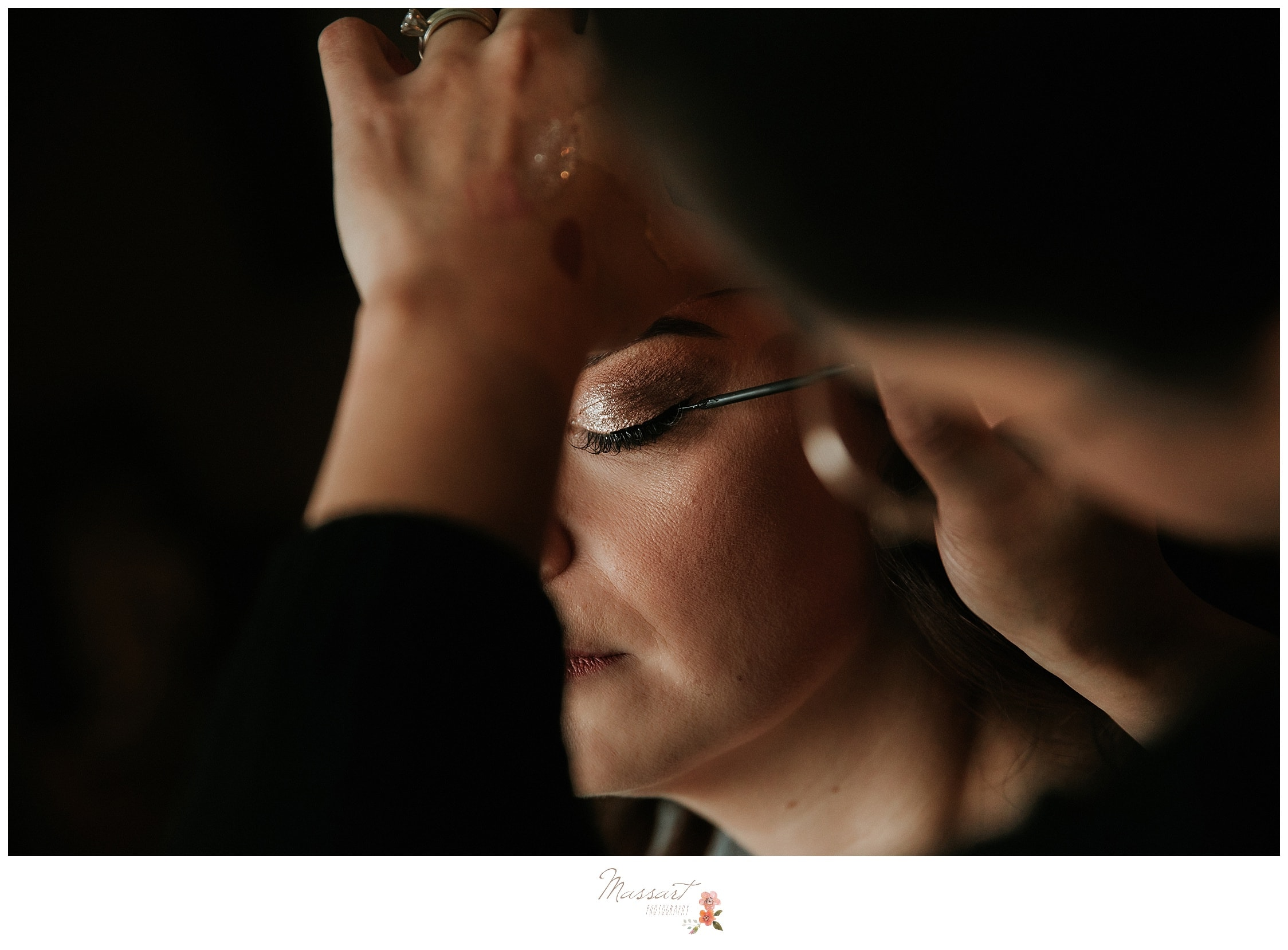 Make up application during getting ready for atlantic resort wedding in newport RI