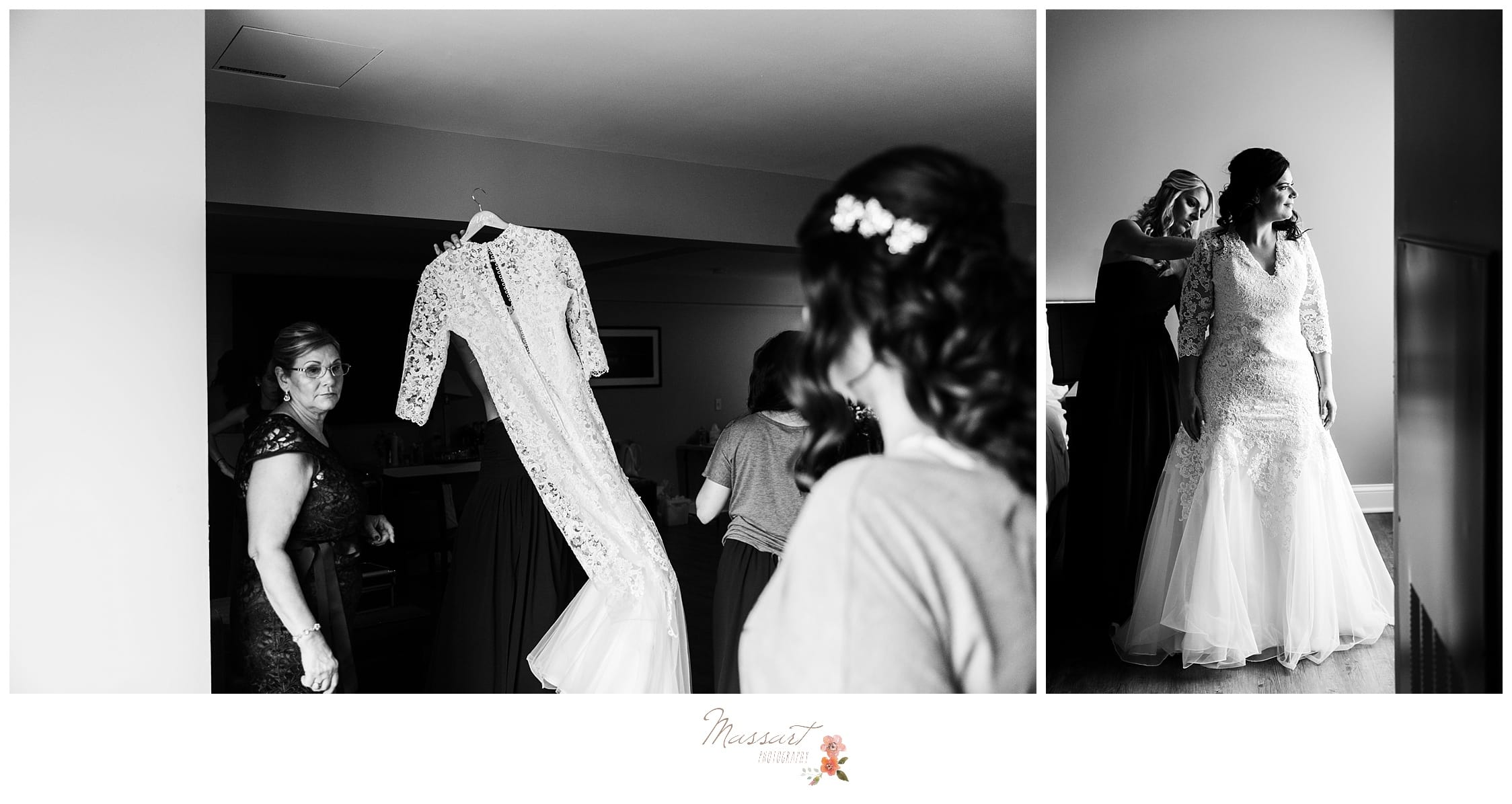 Mother of the bride brings the wedding gown for getting ready pictures by massart photographers of warwick rhode island