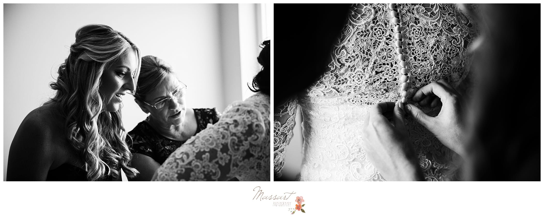 Bride gets her wedding gown put on by mother for her atlantic resort wedding ceremony in newport RI