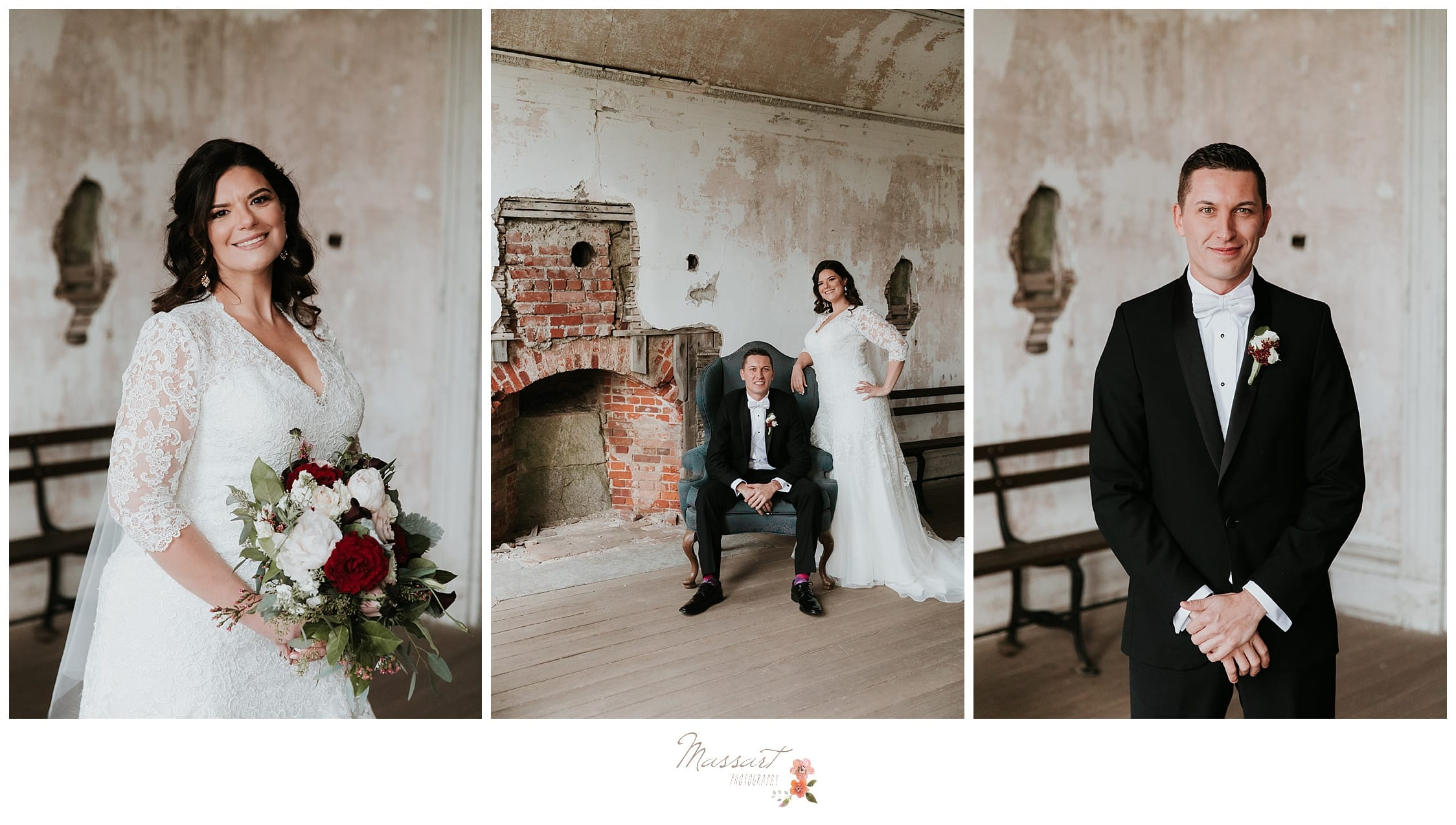 Wedding photos at fort adams in newport, Rhode Island taken by Massart Photographers of RI