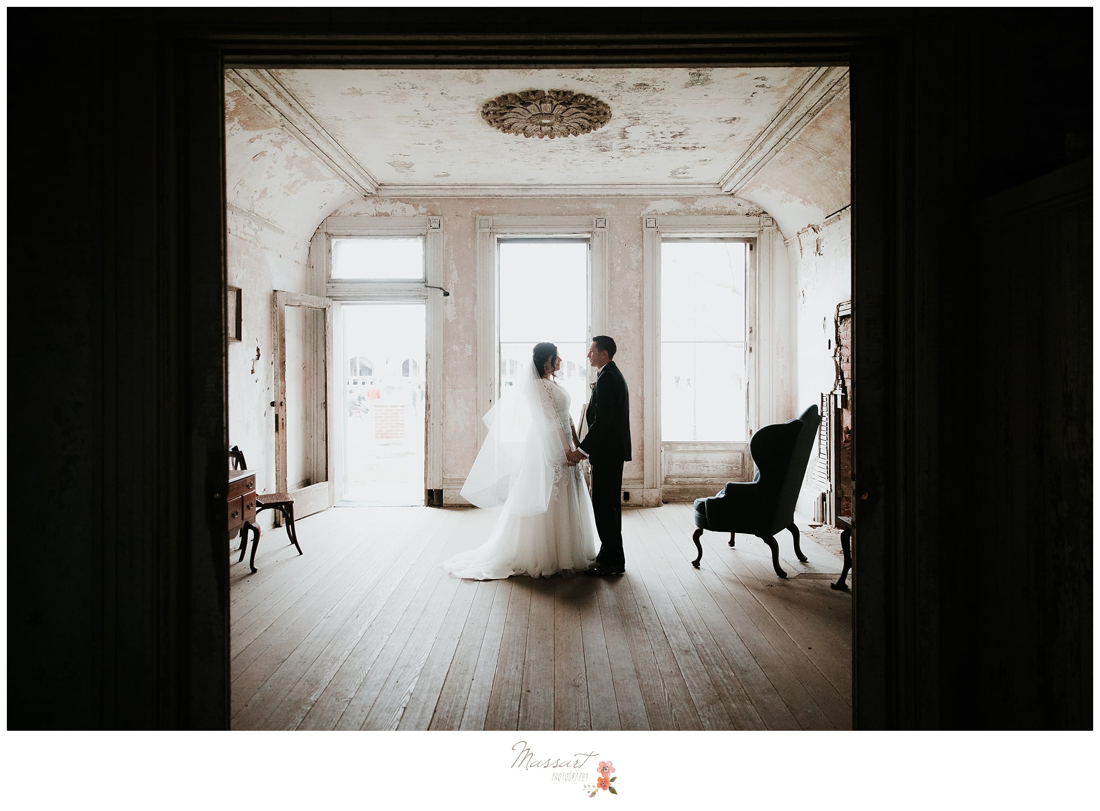 The abandoned casements of fort adams in newport, rhode island are perfect for wedding pictures by massart photographers