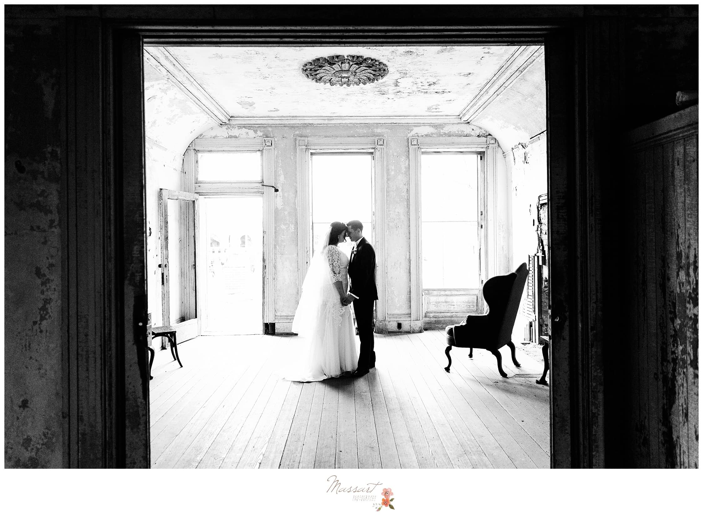The casements of fort adams in newport, RI are the perfect setting for wedding photos