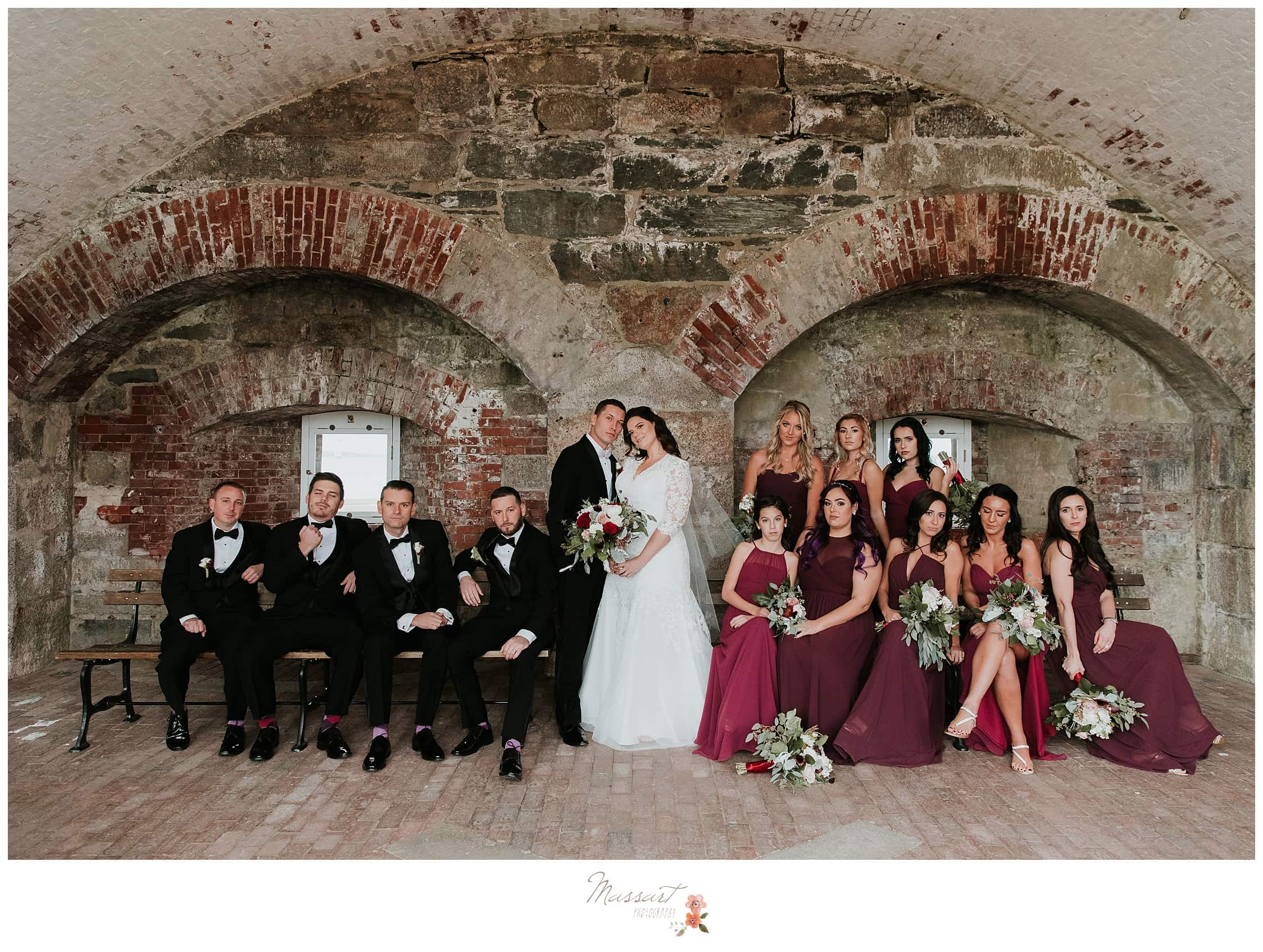 Wedding party formals at fort adams in newport, RI captured by massart photographers