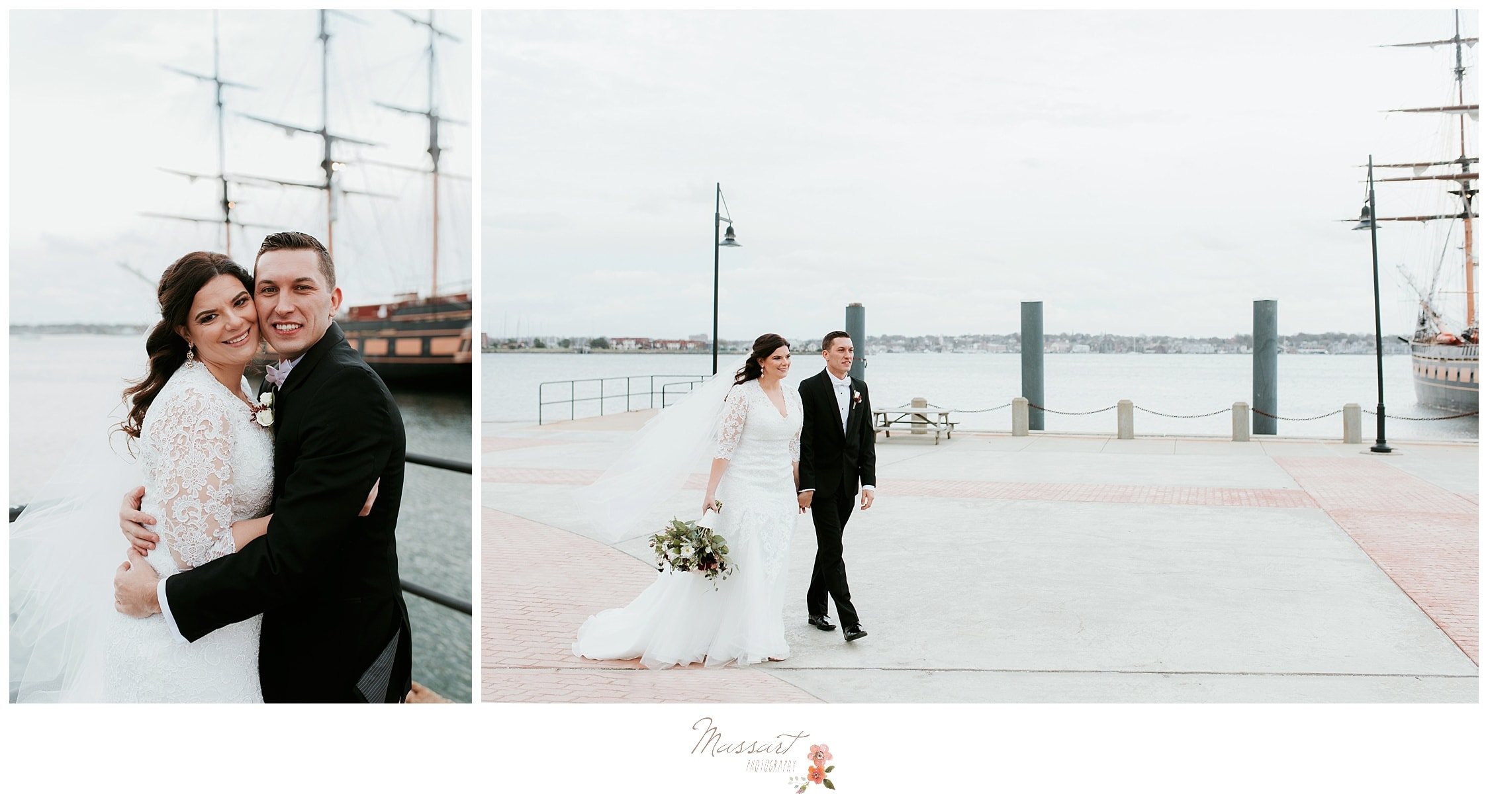 Wedding photos by massart photography of warwick RI of wedding couple in front of tall ship at fort adams in newport