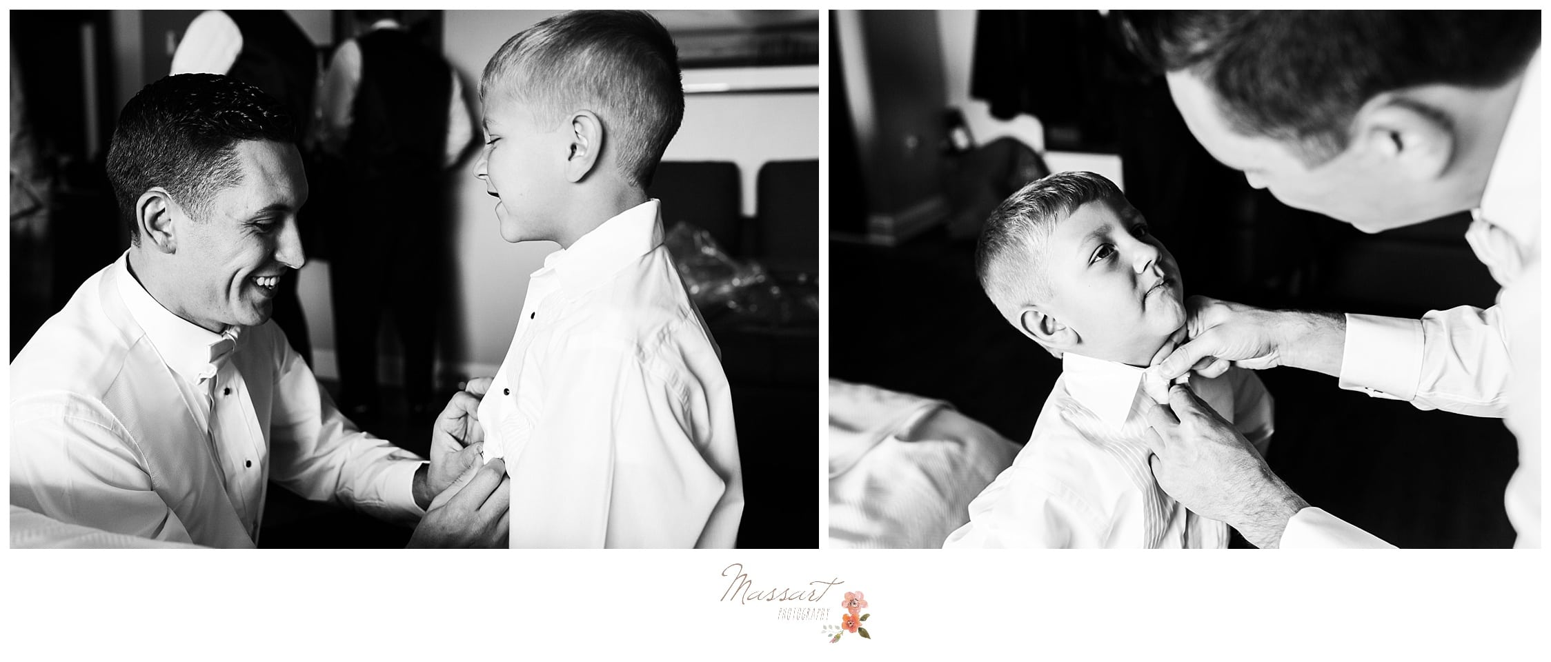 Groom helps son get ready for the wedding ceremony