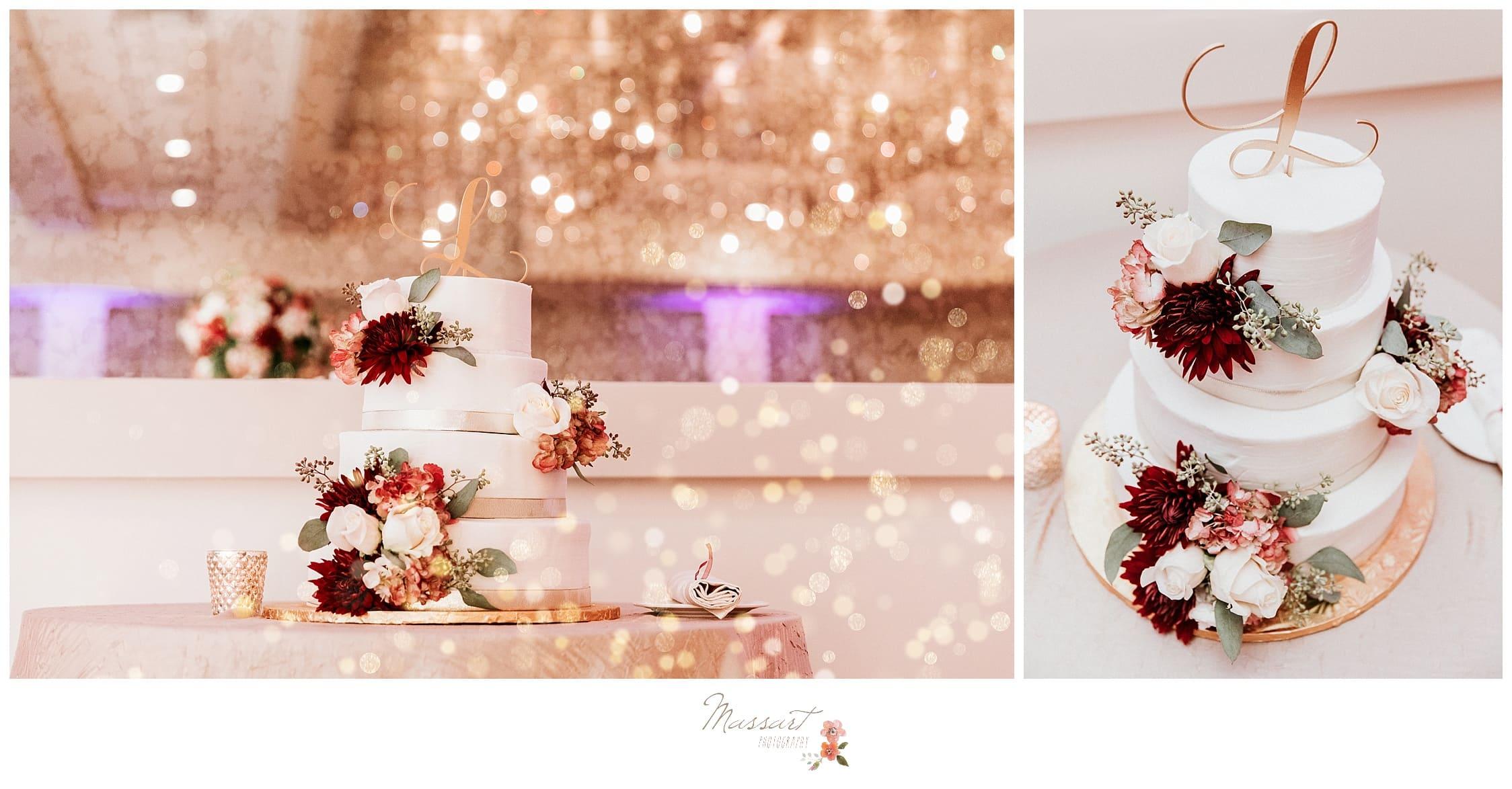 Wedding details and cake photographed by massart photographers of warwick, RI