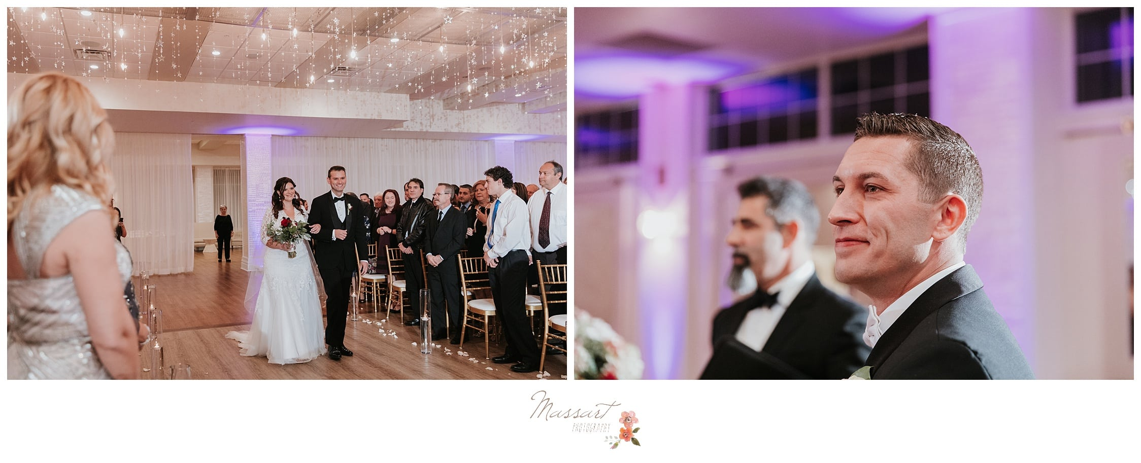 Groom sees bride walking down the ceremony aisle at the atlantic resort in middletown RI