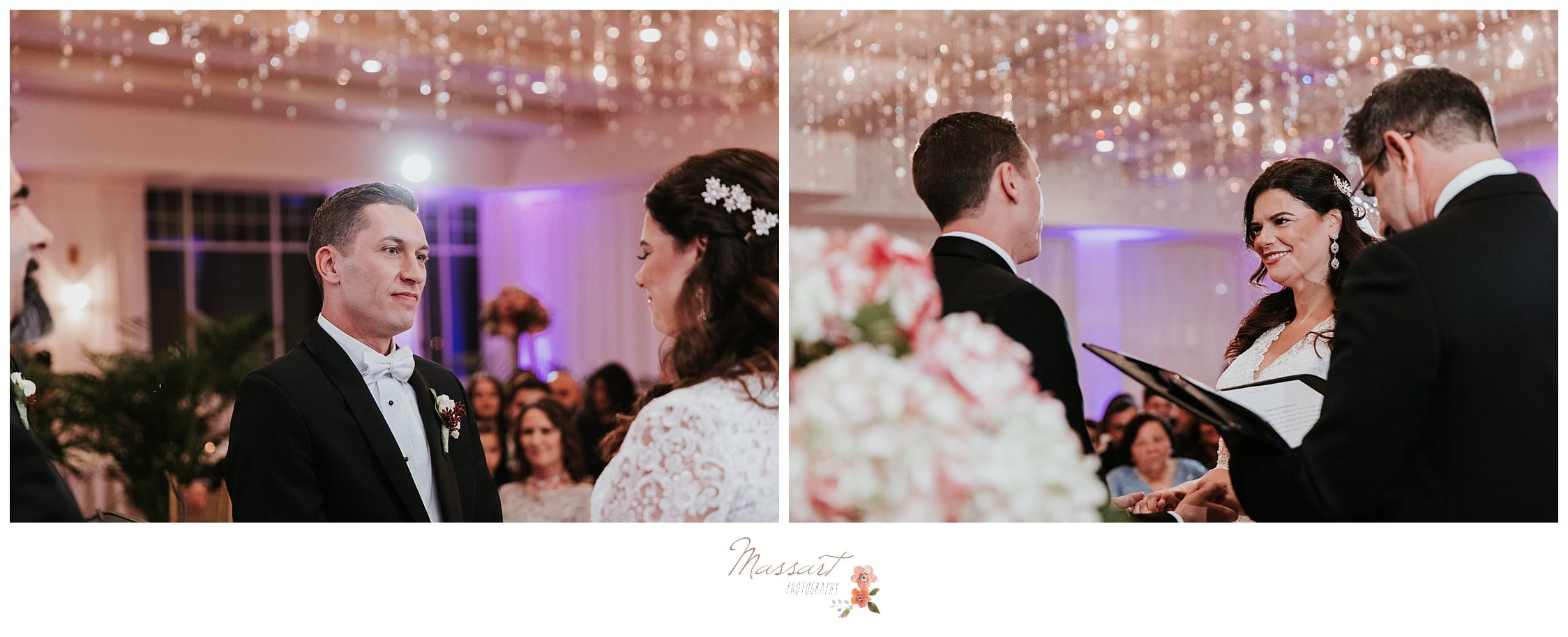 Bride and groom exchange vows during their atlantic resort wedding ceremony