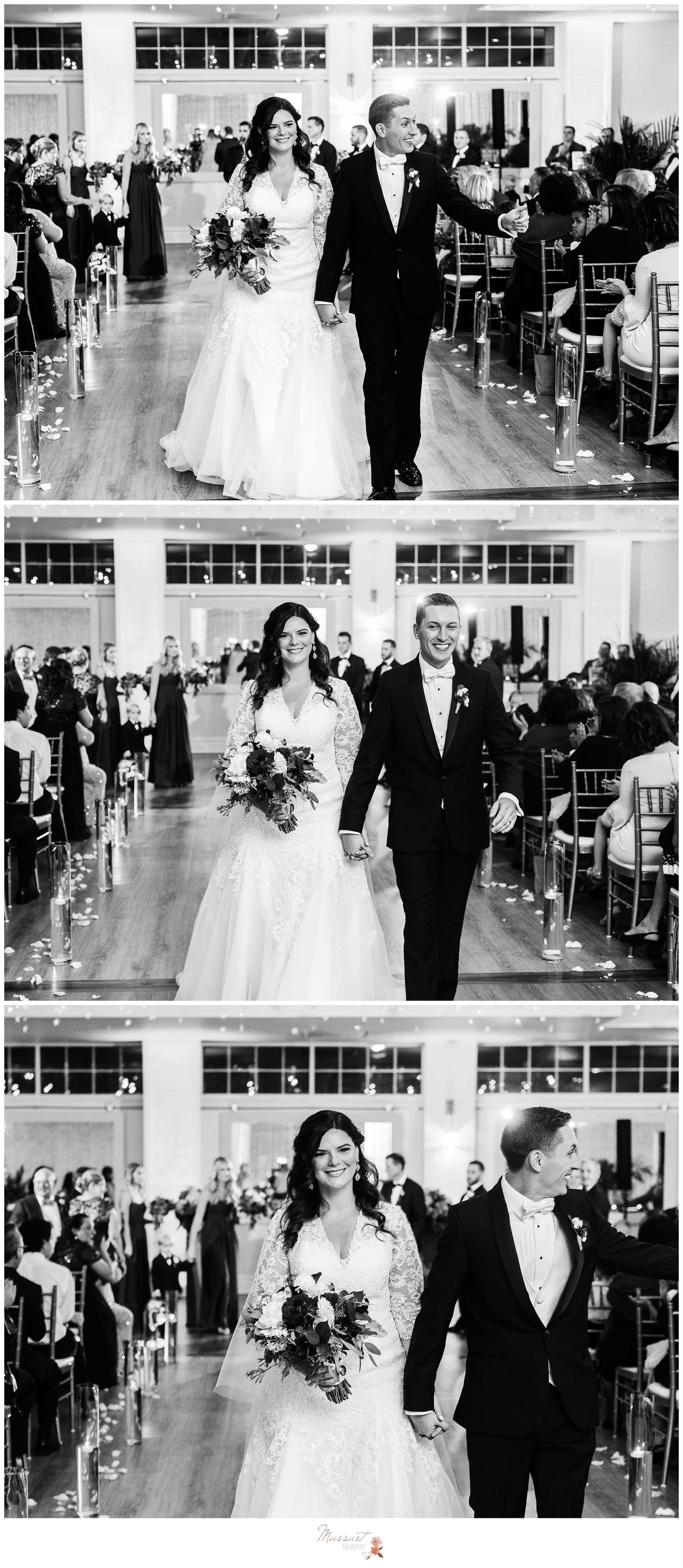 Bride and groom exit wedding ceremony at the atlantic resort in RI