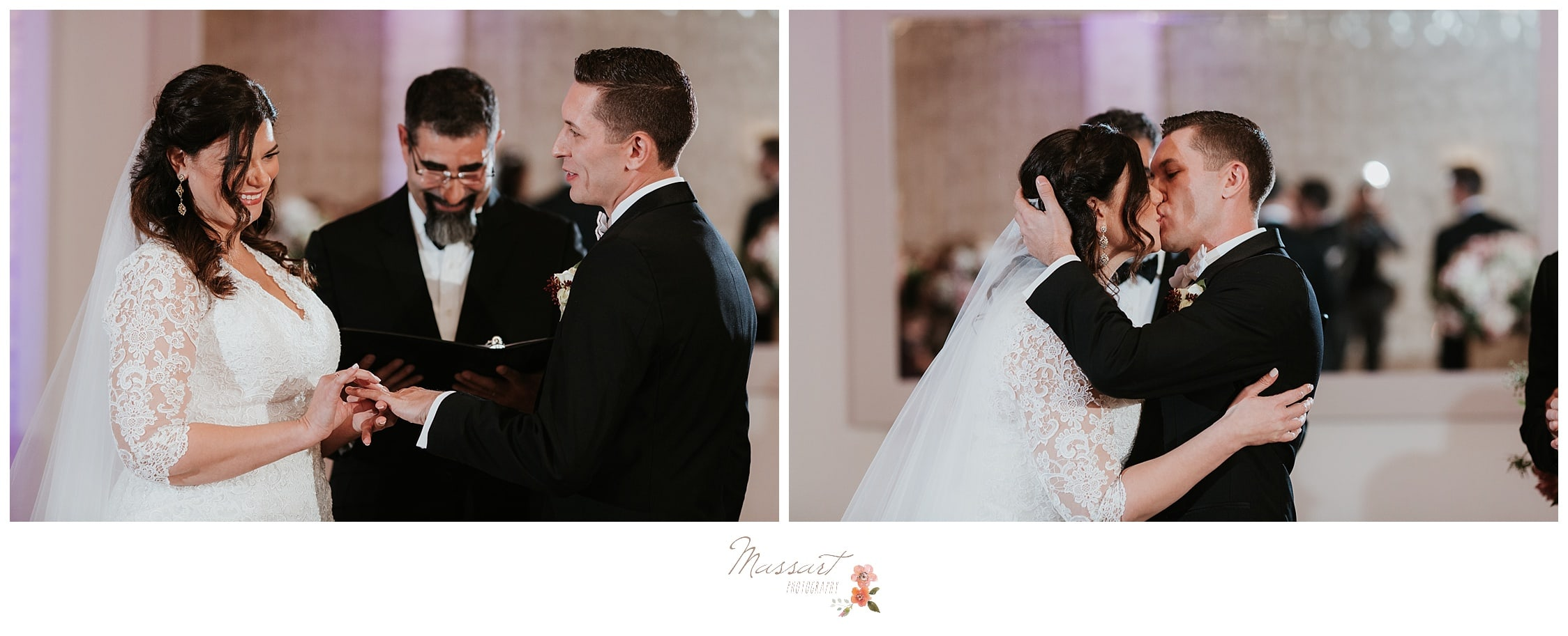 Couple exchange vows and rings at their wedding reception in Newport, RI