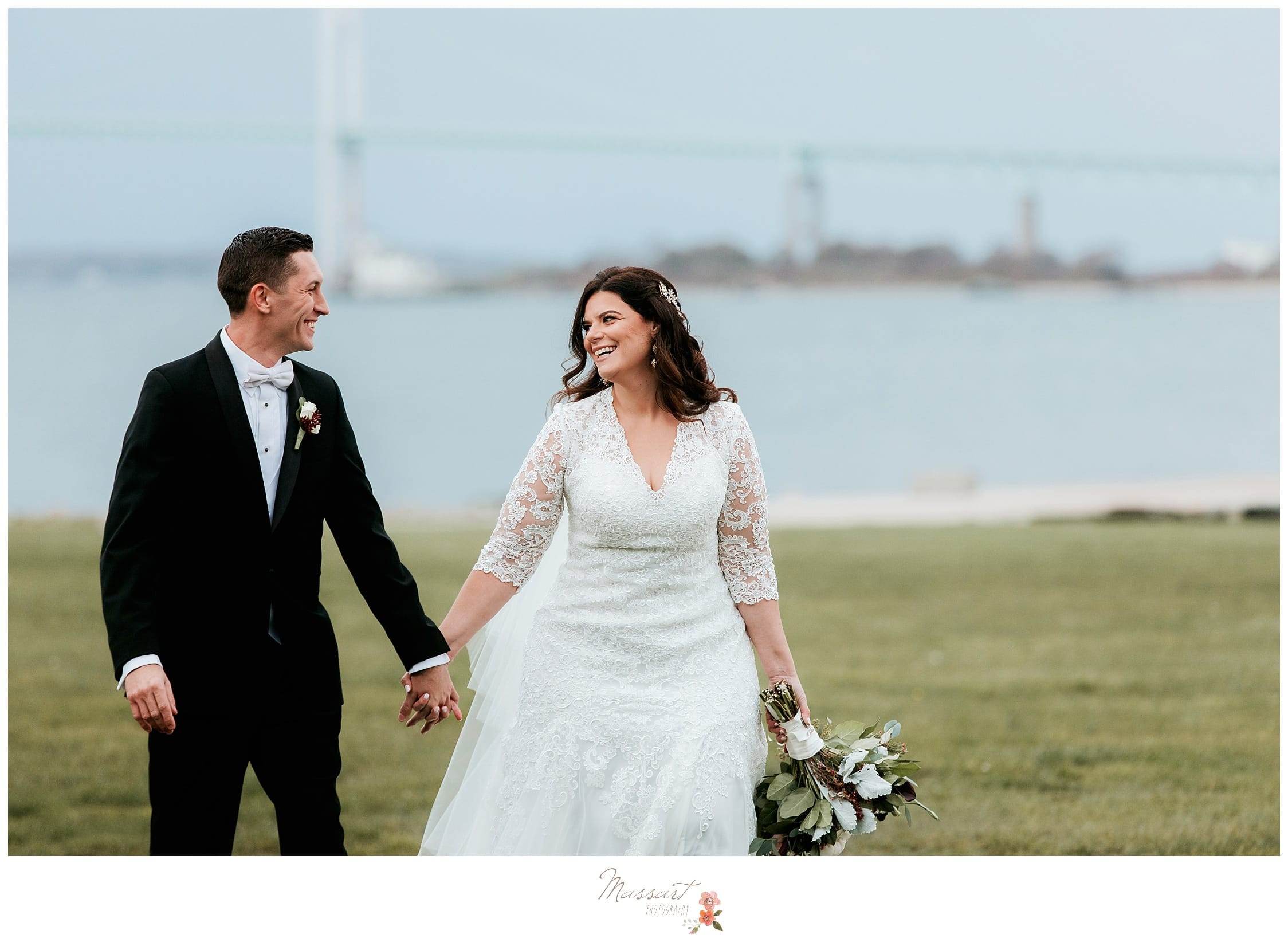 Bride and groom photographs at Fort Adams in Newport, RI by Massart Photographers