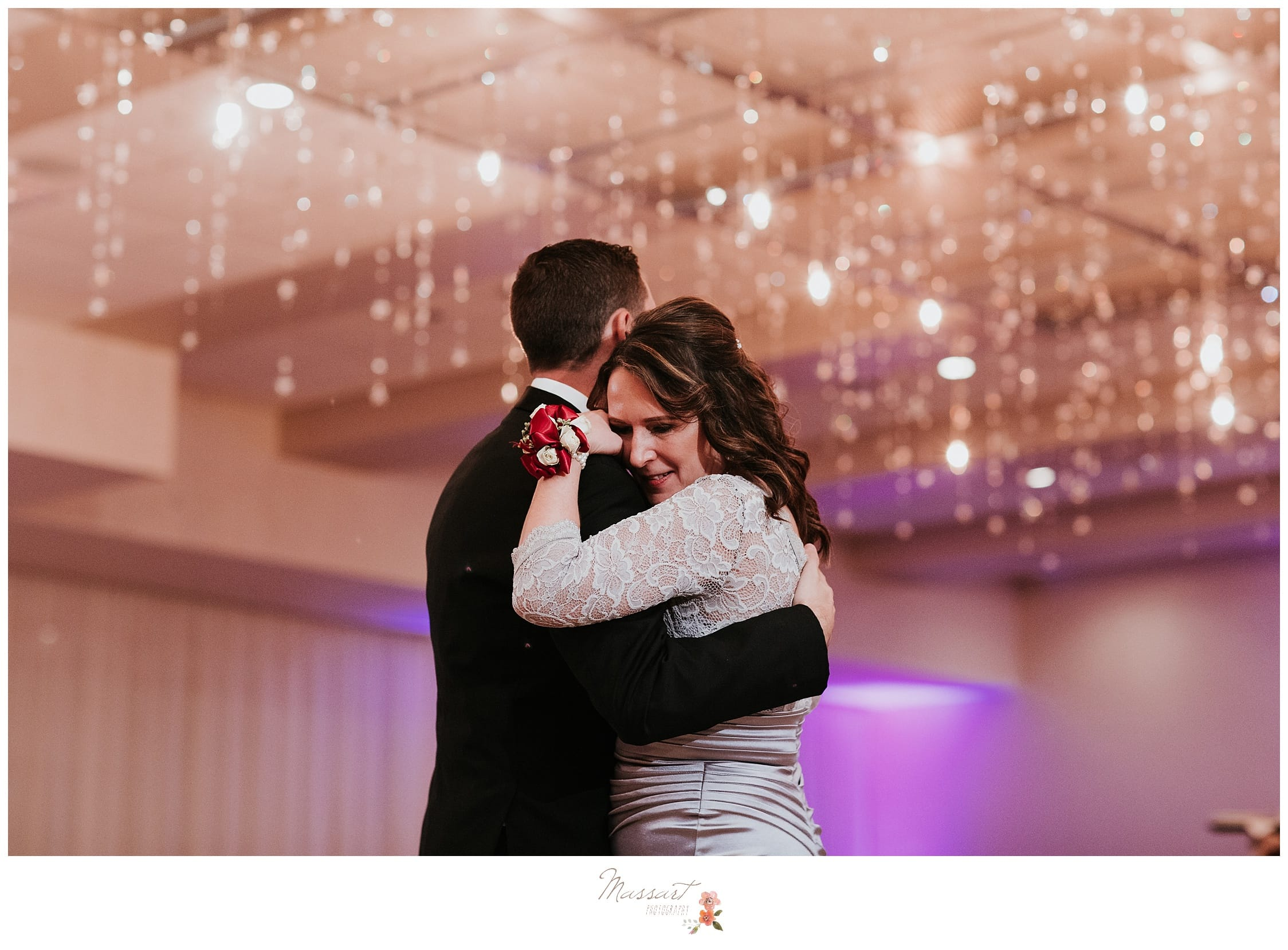 groom dances with his mother at his wedding reception at the atlantic resort in newport, RI