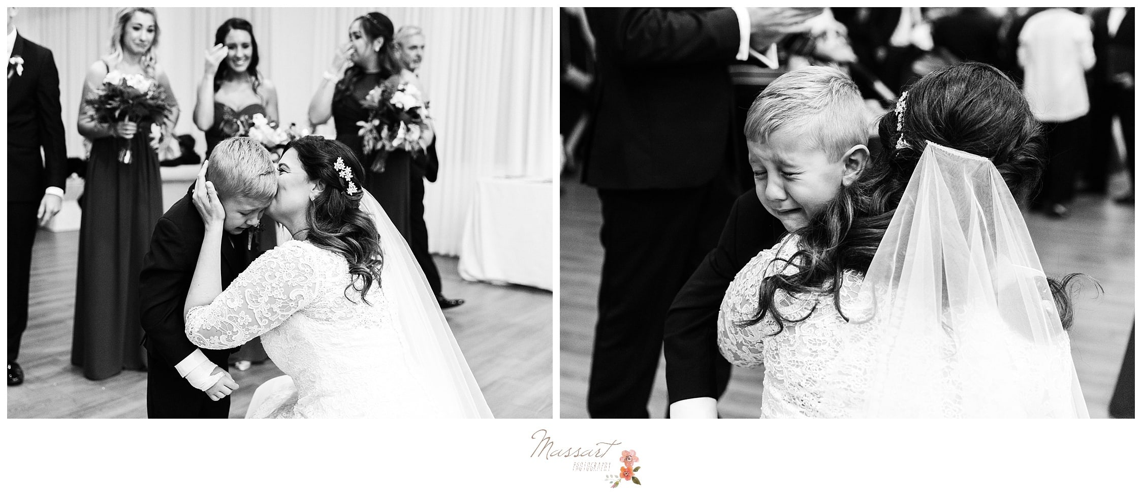 Emotional son of the groom captured by massart photographers of warwick, rhode island