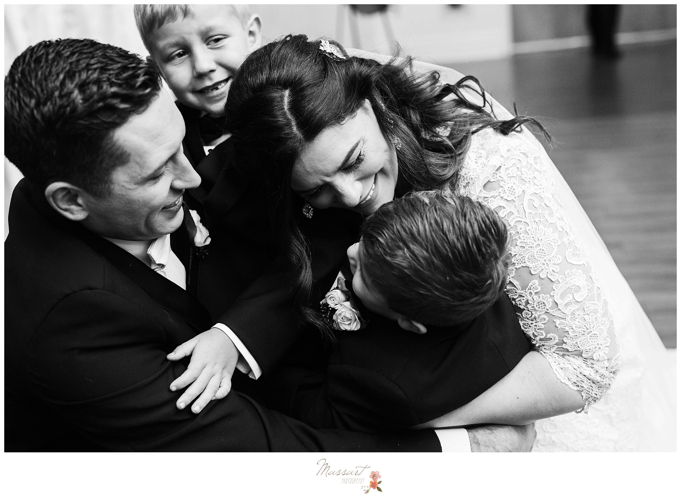 Black and white timeless image after wedding ceremony by massart photography in rhode island