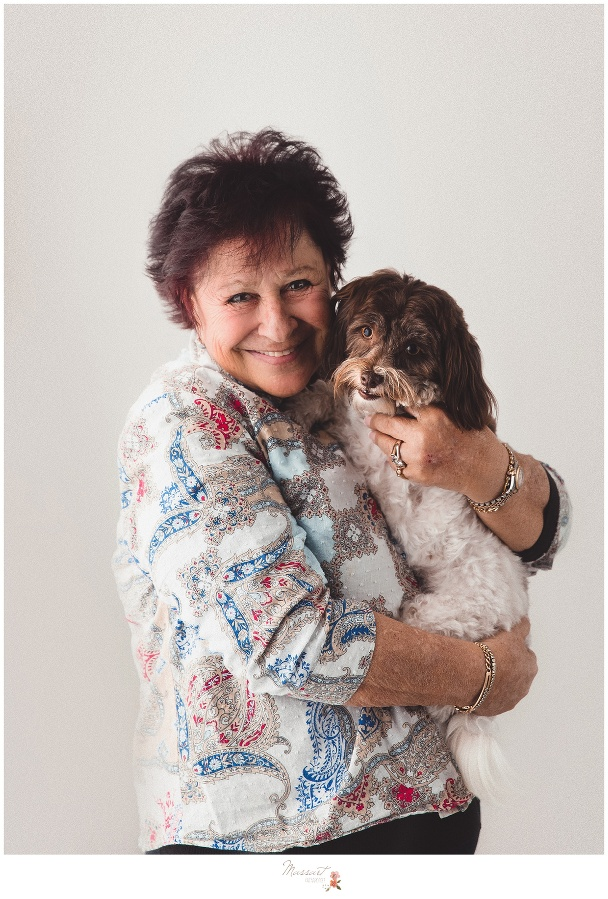Mom and her fur baby take studio portraits captured by Massart Photography Rhode Island