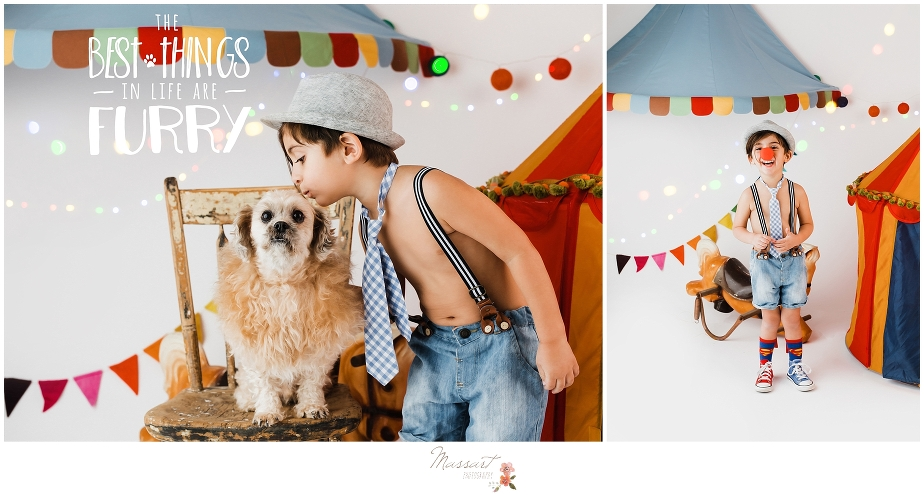 Circus themed photo session with boy and lion dog during a styled photo shoot at Massart Photography in Rhode Island. Also servicing CT, MA