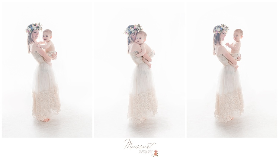 Styled photo session with mom and baby at Massart Photography