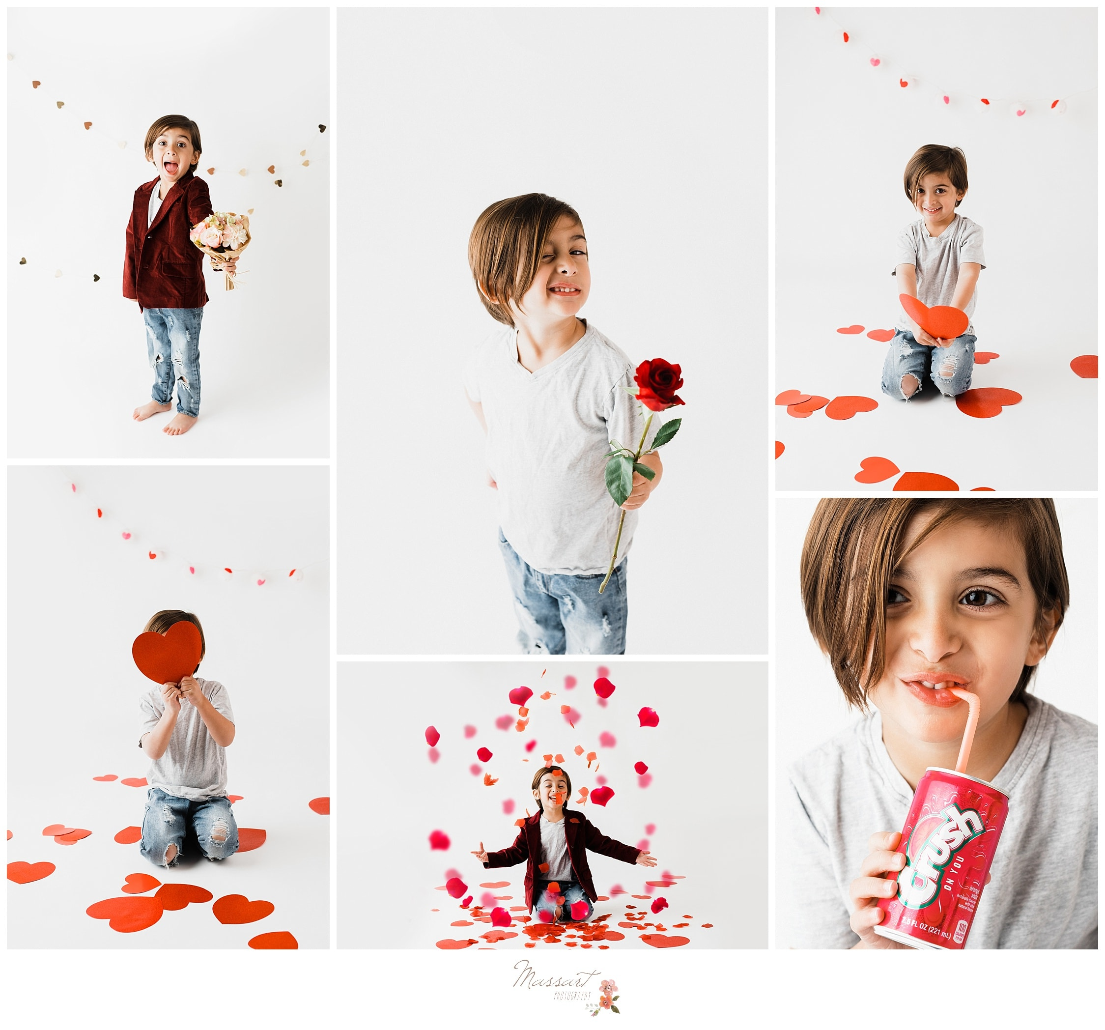 Valentine's day pictures with hearts and balloons by Massart Photography in Rhode Island