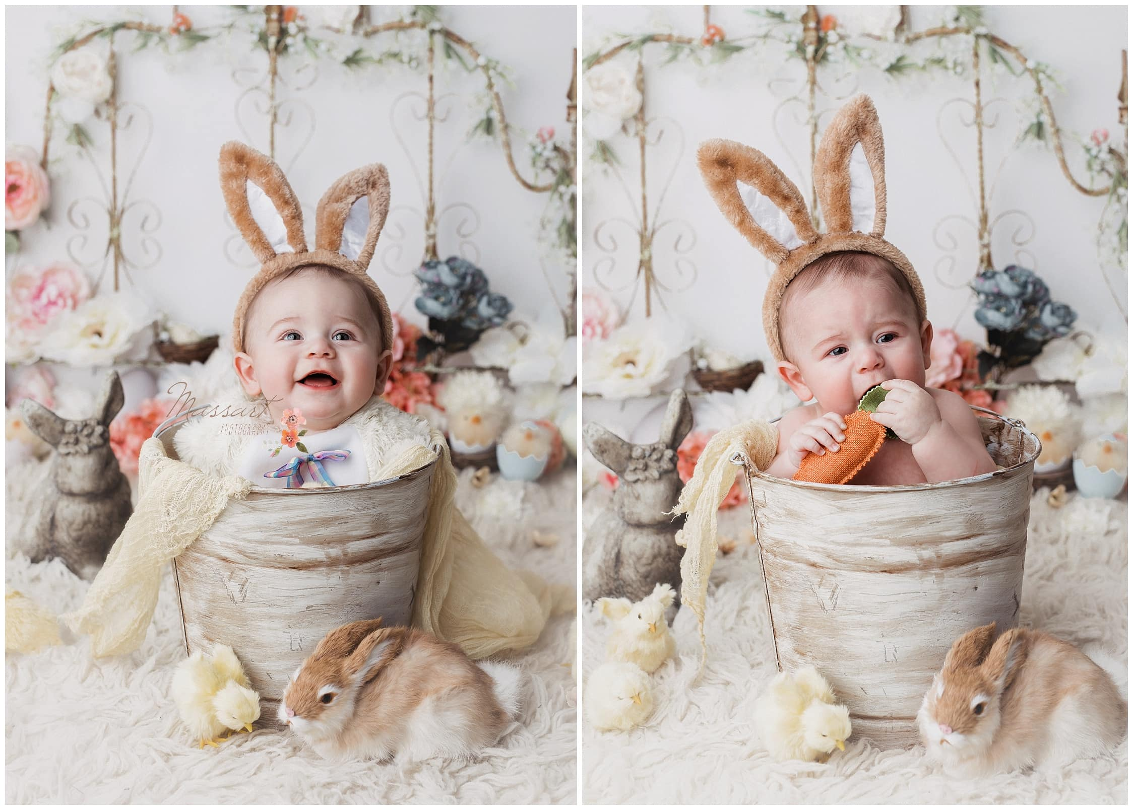 Baby in a bucket pretends to be a bunny for Easter mini sessions in rhode island by Massart Photography