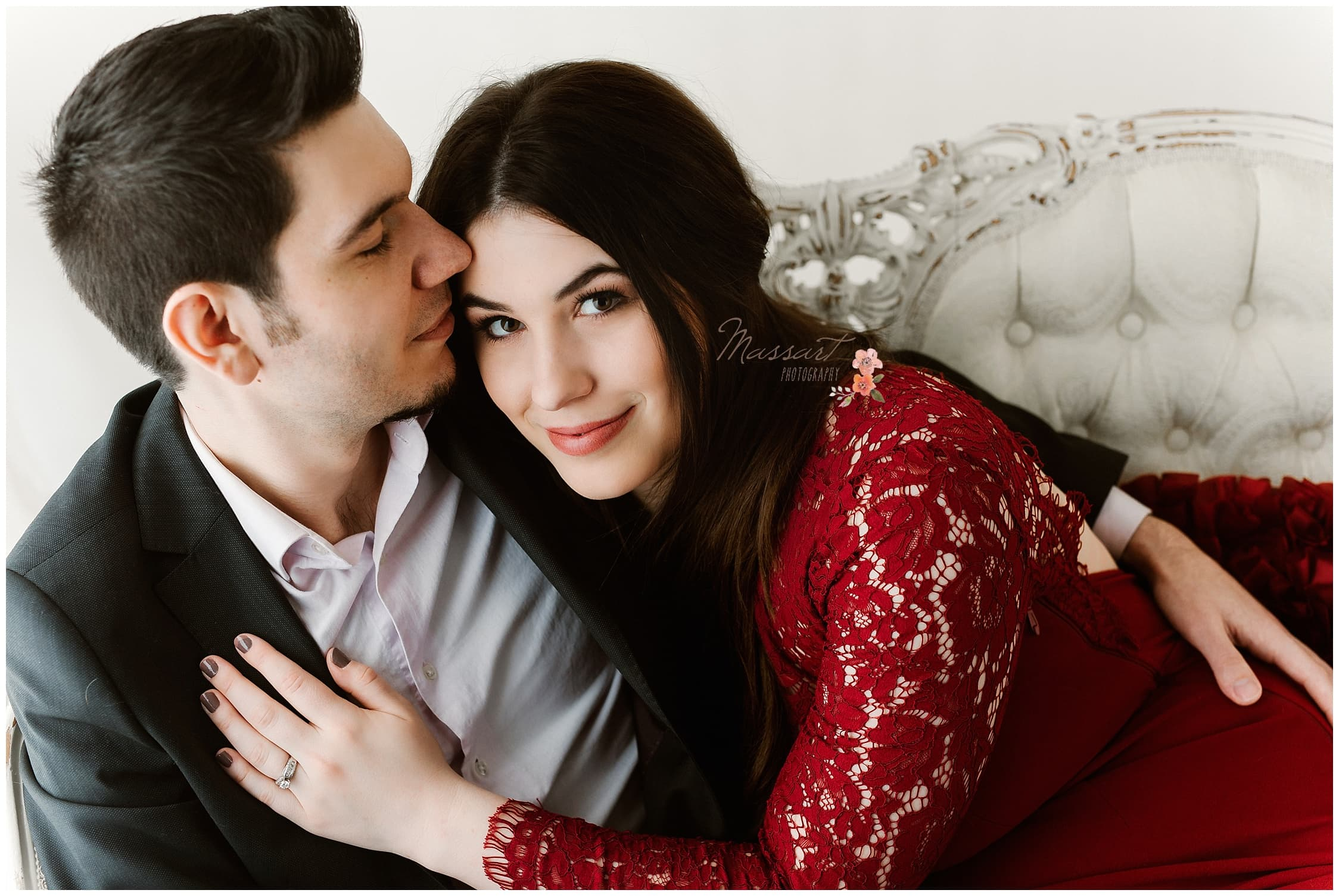 Engagement pictures inside of Massart Photography's studio in Rhode Island